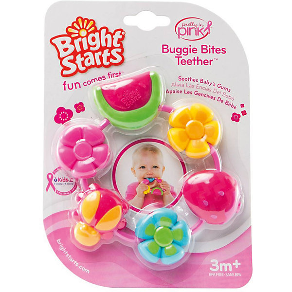 RU Прорезыватель для зубов Bright Starts Летний деньПустышки<br>Характеристики прорезывателя «Летний день»:<br><br>• диаметр: 14 см;<br>• материал: пластик;<br>• размер упаковки: 20х15,5х3 см.<br><br>Прорезыватель Bright Starts предназначен для девочек, выполнен в виде нанизанных на кольцо-держатель цветочков и кусочков фруктов. Рельефная поверхность прорезывателя «Летний день» бережно массажирует воспаленные десны малышки в период прорезывания первых зубиков, оказывает успокаивающее действие. Элементы прорезывателя вращаются, кроха развивает мелкую моторику пальчиков, вращательными движениями прокручивая детали вокруг своей оси. <br><br>Прорезыватель для зубок Летний день, Bright Starts можно купить в нашем интернет-магазине.<br><br>Ширина мм: 199<br>Глубина мм: 134<br>Высота мм: 20<br>Вес г: 88<br>Возраст от месяцев: 4<br>Возраст до месяцев: 36<br>Пол: Женский<br>Возраст: Детский<br>SKU: 4553889