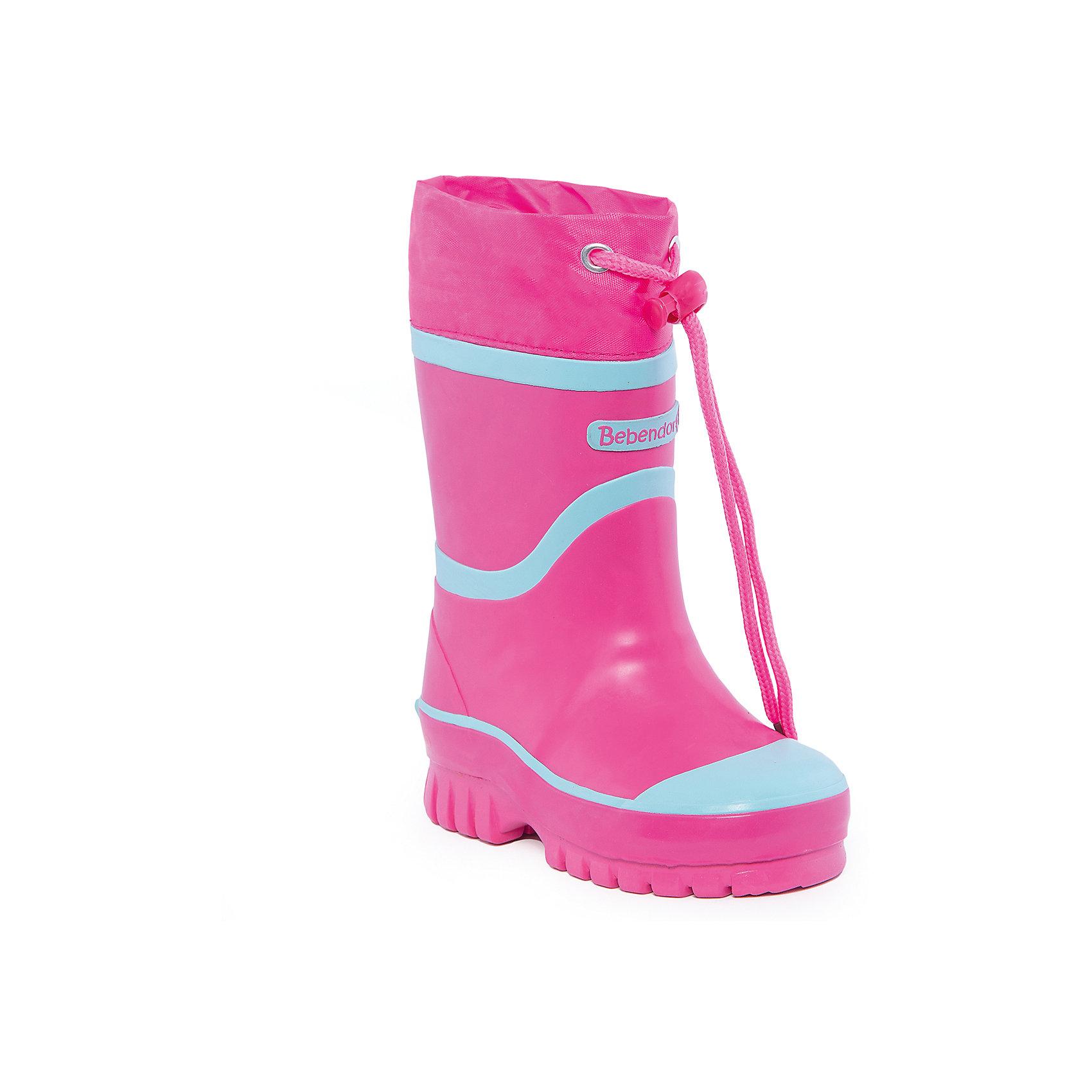 Резиновые сапоги для девочки BebendorffРезиновые сапоги для девочки от известного бренда Bebendorff<br><br>Яркие модные сапоги сделаны из качественной резины. Они позволят защитить ноги ребенка от сырости и холода благодаря шерстяной подкладке. Высокое голенище  с утяжкой защитит одежду от грязи и влаги.<br><br>Отличительные особенности модели:<br><br>- цвет: розовый;<br>- удобная колодка;<br>- утяжка со стоппером на голенище;<br>- качественные материалы;<br>- толстая устойчивая подошва;<br>- теплая подкладка;<br>- декорированы яркими деталями;<br>- подошва рифленая.<br><br>Дополнительная информация:<br><br>Температурный режим: от - 5° С до + 15° С.<br><br>Состав:<br>верх - резина;<br>подкладка - шерсть;<br>стелька - шерсть;<br>подошва - резина.<br><br>Резиновые сапоги для девочки Bebendorff (Бебендорф) можно купить в нашем магазине.<br><br>Ширина мм: 237<br>Глубина мм: 180<br>Высота мм: 152<br>Вес г: 438<br>Цвет: розовый<br>Возраст от месяцев: 24<br>Возраст до месяцев: 24<br>Пол: Женский<br>Возраст: Детский<br>Размер: 25,29,26,27,28<br>SKU: 4554539