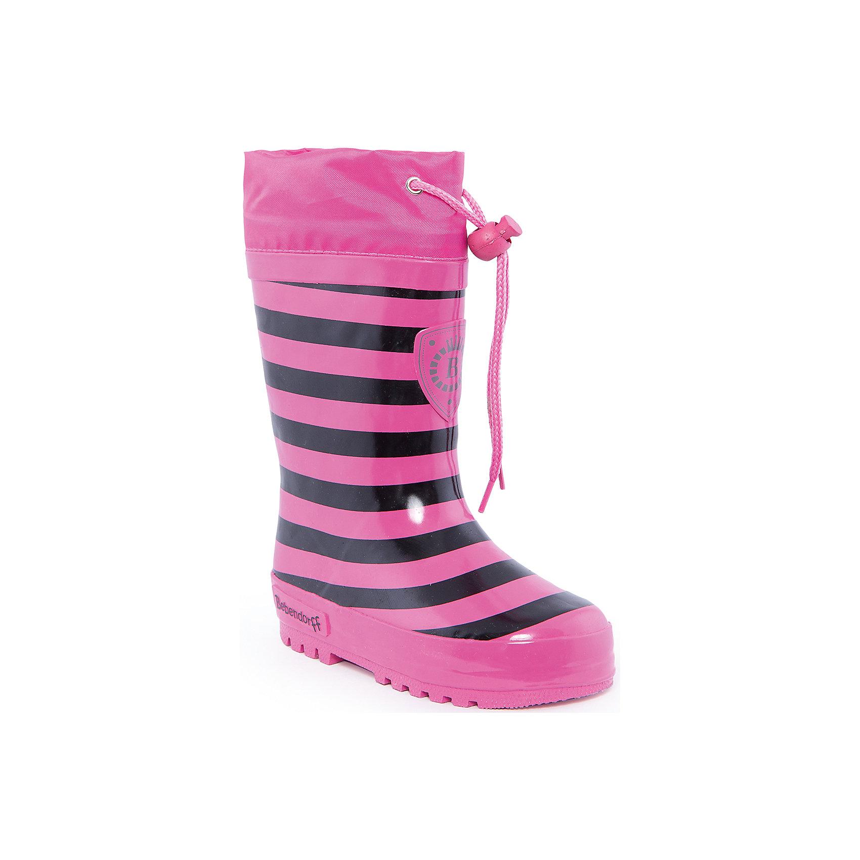 Резиновые сапоги для девочки BebendorffРезиновые сапоги для девочки от известного бренда Bebendorff<br><br>Яркие модные сапоги сделаны из качественной резины. Они позволят защитить ноги ребенка от сырости и холода благодаря шерстяной подкладке. Высокое голенище защитит одежду от грязи и влаги.<br><br>Отличительные особенности модели:<br><br>- цвет: фуксия;<br>- удобная форма;<br>- утяжка со стоппером на голенище;<br>- качественные материалы;<br>- толстая устойчивая подошва;<br>- теплая подкладка;<br>- декорированы черными полосками;<br>- подошва рифленая.<br><br>Дополнительная информация:<br><br>Температурный режим: от - 5° С до + 15° С.<br><br>Состав:<br>верх - резина;<br>подкладка - шерсть;<br>стелька - шерсть;<br>подошва - резина.<br><br>Резиновые сапоги для девочки Bebendorff (Бебендорф) можно купить в нашем магазине.<br><br>Ширина мм: 237<br>Глубина мм: 180<br>Высота мм: 152<br>Вес г: 438<br>Цвет: фуксия<br>Возраст от месяцев: 48<br>Возраст до месяцев: 60<br>Пол: Женский<br>Возраст: Детский<br>Размер: 28,26,25,27,29<br>SKU: 4554635