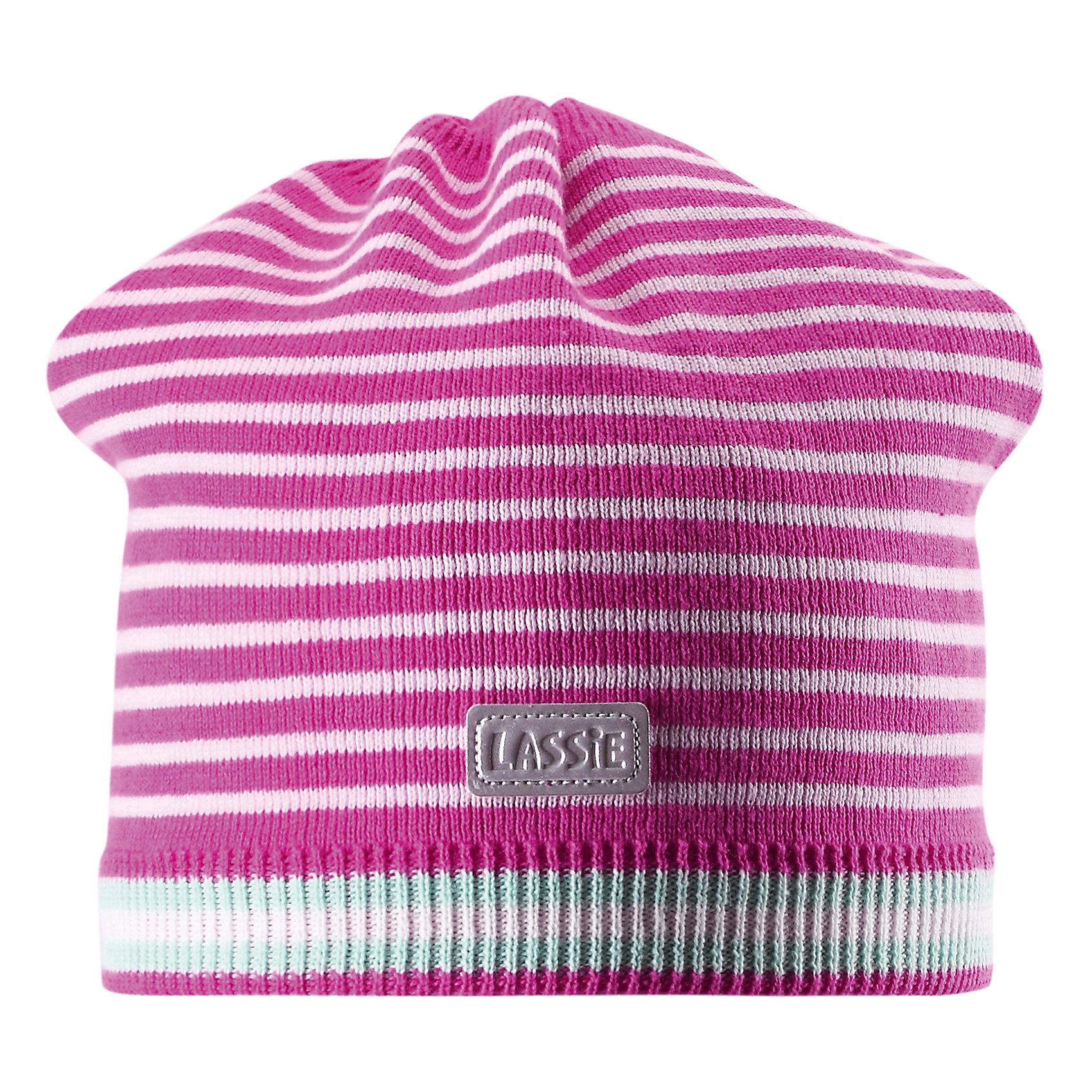 Шапка  LASSIE by ReimaШапка от известной компании LASSIE by Reima<br><br>Модная теплая шапка - отличная вещь для прогулок и активного отдыха. Она стильно смотрится и хорошо сидит.<br><br>Вязаный рисунок оживляет дизайн изделия - такую вещь дети будут носить с удовольствием!<br><br>Особенности модели:<br><br>- цвет: розовый;<br>- светоотражающая нашивка;<br>- эластичный материал;<br>- натуральный хлопок;<br>- стильный дизайн;<br>- глубокая посадка.<br><br>Дополнительная информация:<br><br>Температурный режим: от -15° до +10° С<br><br>Состав: 100% хлопок<br><br>Шапку от известной компании LASSIE by Reima (Лэсси Рейма) можно купить в нашем магазине.<br><br>Ширина мм: 89<br>Глубина мм: 117<br>Высота мм: 44<br>Вес г: 155<br>Цвет: розовый<br>Возраст от месяцев: 36<br>Возраст до месяцев: 60<br>Пол: Унисекс<br>Возраст: Детский<br>Размер: 50-52,54-56,46-48<br>SKU: 4555413