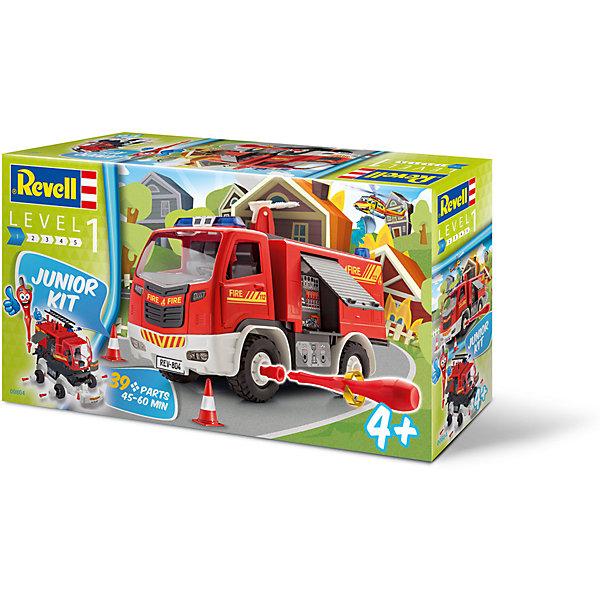 Сборная модель для малышей Пожарная машинаАвтомобили<br>Характеристики товара:<br><br>• возраст: от 4 лет;<br>• цвет: красный;<br>• масштаб: 1:20;<br>• количество деталей: 39 шт;<br>• материал: пластик; <br>• клей и краски в комплект не входят;<br>• длина модели: 30 см;<br>• бренд, страна бренда: Revell (Ревел),Германия;<br>• страна-изготовитель: Польша.<br><br>Сборная модель для малышей «Пожарная машина» поможет вам и вашему ребенку придумать увлекательное занятие на долгое время. Модель имеет интересный дизайн и очень хорошо детализирована.<br><br>С помощью специальной отвертки и побробной инструкции ребенок соберет из 39 деталей пожарную машину, внешне максимально похожую на реальный автомобиль пожарной охраны. Пластиковые детали для сборки уже окрашены, таким образом собранную модель машины нужно лишь украсить наклейками, входящими в комплект.<br><br>У пожарной машины вращаются колеса, открываются двери кабины и багажного отсека; таким образом собранная модель станет полноценной игрушкой. Ребенок сможет разобрать машину, а затем попробовать собрать ее снова, но уже за меньшее время.<br><br>Сборка модели поможет развить мелкую моторику рук, познакомит с техническим творчеством и обучит ребенка работе с простейшими инструментами. <br><br>Сборную модель для малышей «Пожарная машина», 39 дет., Revell (Ревел) можно купить в нашем интернет-магазине.<br><br>Ширина мм: 442<br>Глубина мм: 251<br>Высота мм: 116<br>Вес г: 1062<br>Возраст от месяцев: 48<br>Возраст до месяцев: 84<br>Пол: Мужской<br>Возраст: Детский<br>SKU: 4555756