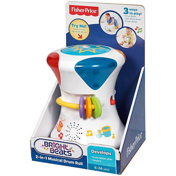 Музыкальный  барабан Fisher-PriceДетские музыкальные инструменты<br>Музыкальный барабан - прекрасный подарок самым юным музыкантам. Малыш сможет нажимать на барабан, слушая веселую музыку и наблюдая как движутся и мигают разноцветные огоньки. В режиме «Барабанный бой» игрушка включает световые эффекты и проигрывает разные мелодии. Кроме этого, юный музыкант сможет попробовать сам сочинить что-нибудь, используя свободный режим. Гирлянды погремушки и светящийся шарик на барабане обязательно заинтересуют кроху и помогут развить моторику рук и тактильные ощущения. Игрушка выполнена из высококачественного пластика, не имеет острых углов, абсолютно безопасна для детей. <br><br>Дополнительная информация:<br><br>- Материал: пластик.<br>- Размер: 15х20 см. <br>- Световые, звуковые эффекты.<br>- 3 режима игры.<br>- Элемент питания: 3 АА батарейки. <br><br>Музыкальный  барабан Fisher-Price (Фишер Прайс) можно купить в нашем магазине.<br>Ширина мм: 275; Глубина мм: 170; Высота мм: 165; Вес г: 805; Возраст от месяцев: 6; Возраст до месяцев: 24; Пол: Унисекс; Возраст: Детский; SKU: 4556228;