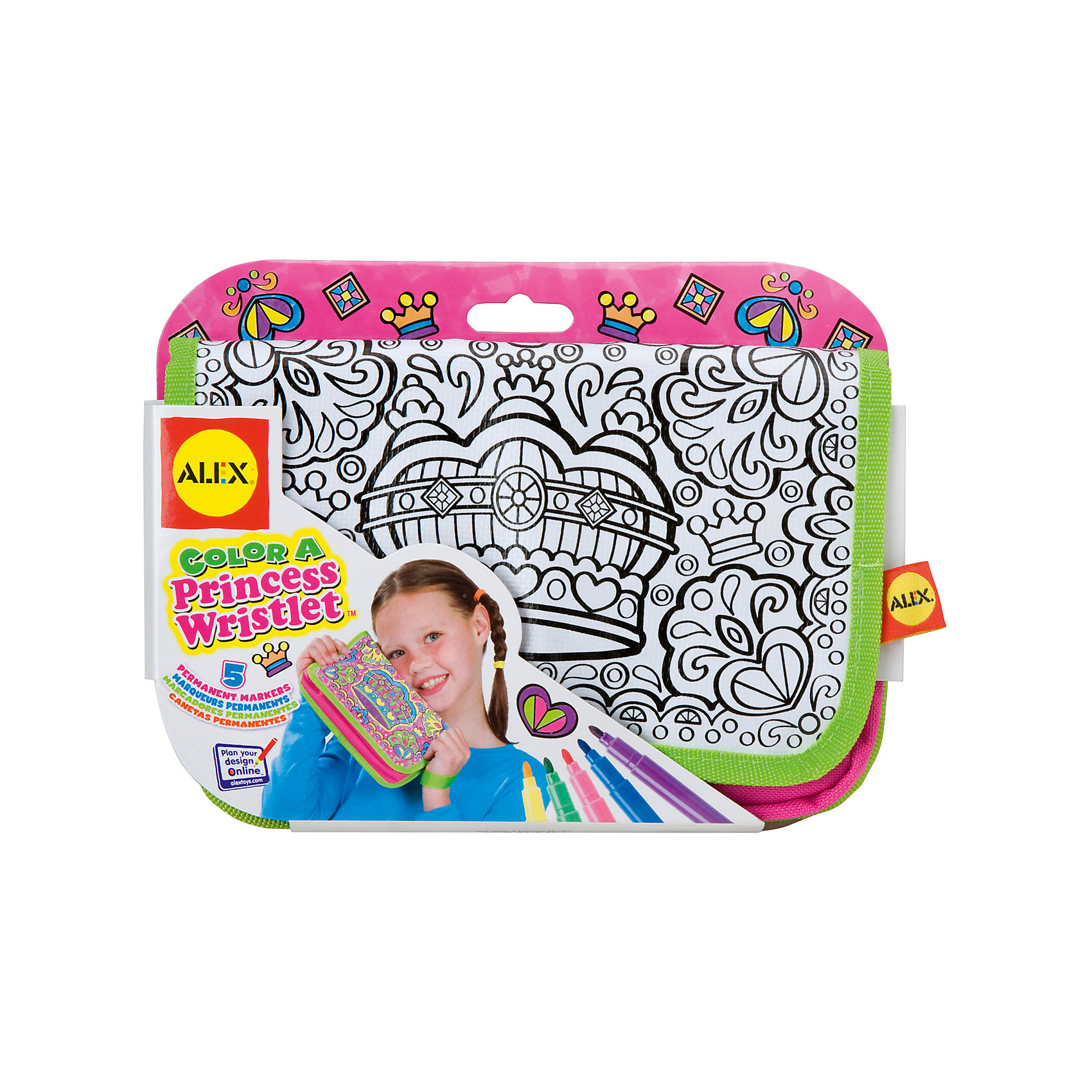 Набор Раскрась клатч для принцессы, ALEXНабор Раскрась клатч для принцессы, ALEX (АЛЕКС) – это набор для создания эксклюзивного модного аксессуара своими руками.<br>Набор Раскрась клатч для принцессы – это увлекательный набор, который позволит вашей малышке собственными руками создать уникальный клатч. Благодаря несмываемым фломастерам девочка раскрасит сумочку по своему вкусу, сделать это очень легко, так как на гладкой белой поверхности уже нанесен черный контур орнамента с короной посередине. Такая сумочка станет прекрасным дополнением к любой одежде вашей маленькой модницы или послужит отличным подарком любимой подружке!<br><br>Дополнительная информация:<br><br>- В наборе: 5 несмываемых фломастеров; сумочка-клатч из плотной ткани с орнаментом для раскрашивания<br>- Размер клатча: 21,5x13,9x3,8 см.<br>- Материал клатча: текстиль<br>- Размеры упаковки: 22,9х3,1х17,1 см.<br>- Вес: 181 гр.<br><br>Набор Раскрась клатч для принцессы, ALEX (АЛЕКС) можно купить в нашем интернет-магазине.<br><br>Ширина мм: 229<br>Глубина мм: 31<br>Высота мм: 171<br>Вес г: 181<br>Возраст от месяцев: 84<br>Возраст до месяцев: 120<br>Пол: Женский<br>Возраст: Детский<br>SKU: 4556951