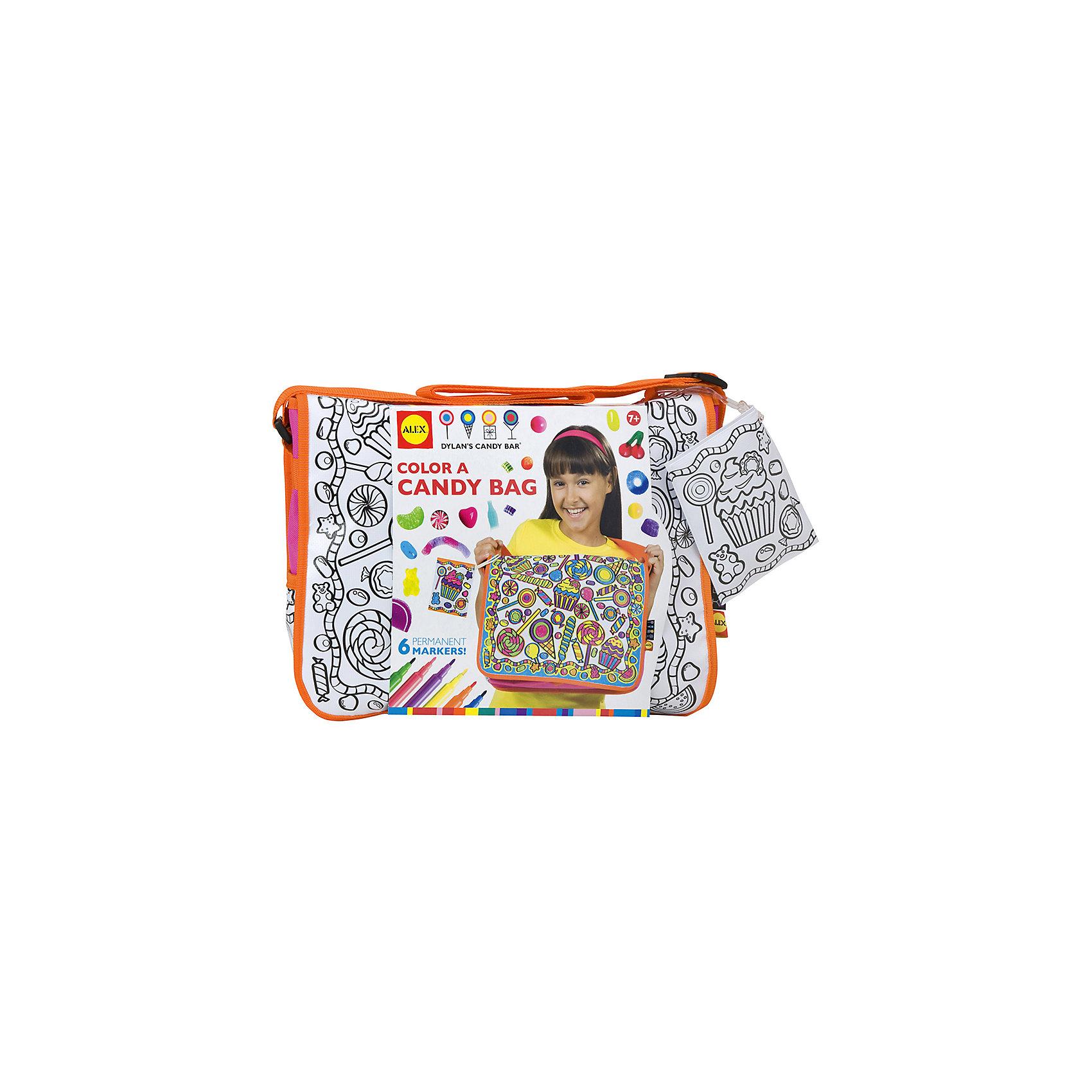 Набор Раскрась сумку со сладкими узорами, ALEXНабор Раскрась сумку со сладкими узорами, ALEX (АЛЕКС) – это набор для создания эксклюзивной модной сумки своими руками.<br>Набор «Раскрась сумку со сладкими узорами» – это увлекательный набор, который позволит вашей малышке собственными руками создать уникальную сумку. Благодаря несмываемым фломастерам девочка раскрасит сумку по своему вкусу, сделать это очень легко, так как на гладкой белой поверхности уже нанесен черный контур с конфетным орнаментом. В комплект входит кошелек для ключей на ремешке с орнаментом для раскрашивания. Сумка дополнена удобным широким регулируемым ремешком.<br><br>Дополнительная информация:<br><br>- В наборе: 6 несмываемых фломастеров; сумочка из плотной ткани с орнаментом для раскрашивания, кошелек для ключей на ремешке с орнаментом для раскрашивания<br>- Материал: текстиль<br>- Размер сумки: 36 x 28 x 10 см.<br>- Размеры упаковки: 35,6х11,4х25,4 см.<br>- Вес: 544 гр.<br><br>Набор Раскрась сумку со сладкими узорами, ALEX (АЛЕКС) можно купить в нашем интернет-магазине.<br><br>Ширина мм: 356<br>Глубина мм: 114<br>Высота мм: 254<br>Вес г: 544<br>Возраст от месяцев: 84<br>Возраст до месяцев: 120<br>Пол: Женский<br>Возраст: Детский<br>SKU: 4556952
