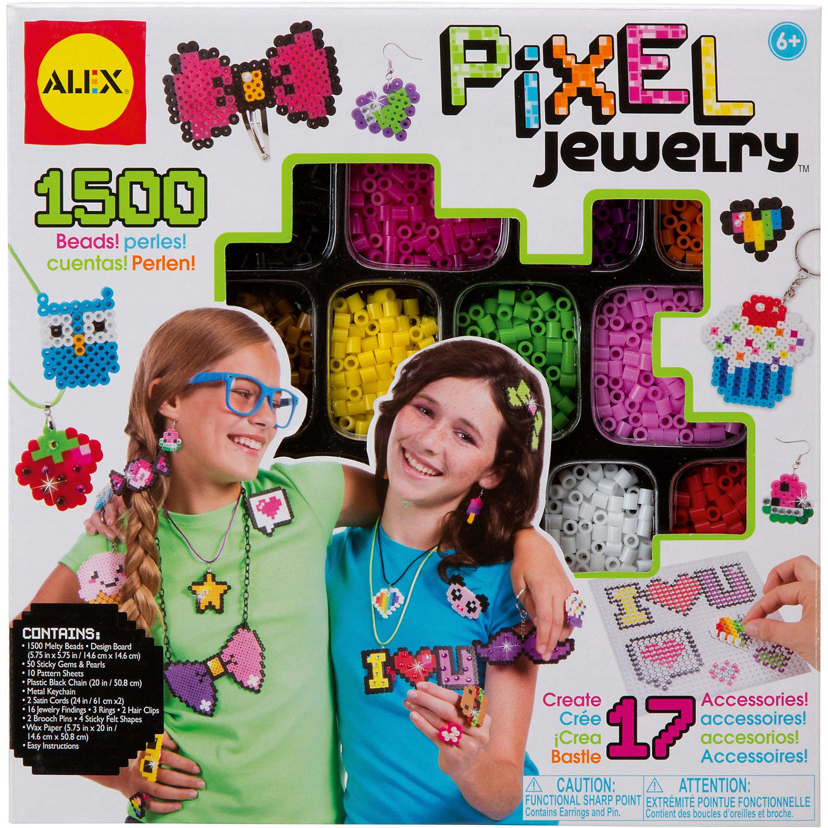 Набор для создания браслетов Пиксели, AlexНаборы для создания украшений<br>Восьмидесятые возвращаются! Создай 17 модных аксессуаров - сережки, подвески, кольца, брелоки, броши и заколки -  и  ультрамодном  пиксельном дизайне. В наборе 1500 термобусин 12 ярких цветов, подставка 14,6 х 14,6 см, 50 страз на клейкой основе, 10 полноцветных листов со схемами дизайнов, черная пластиковая цепочка, металлический брелок для ключей, 2 атласных шнура, 16 соединительных элементов, 3 колечка, 2 заколки, 4 флисовые фигурки, 2 булавки для брошей, вощеная бумага и инструкции.<br><br>Ширина мм: 227<br>Глубина мм: 51<br>Высота мм: 229<br>Вес г: 461<br>Возраст от месяцев: 72<br>Возраст до месяцев: 120<br>Пол: Женский<br>Возраст: Детский<br>SKU: 4556956