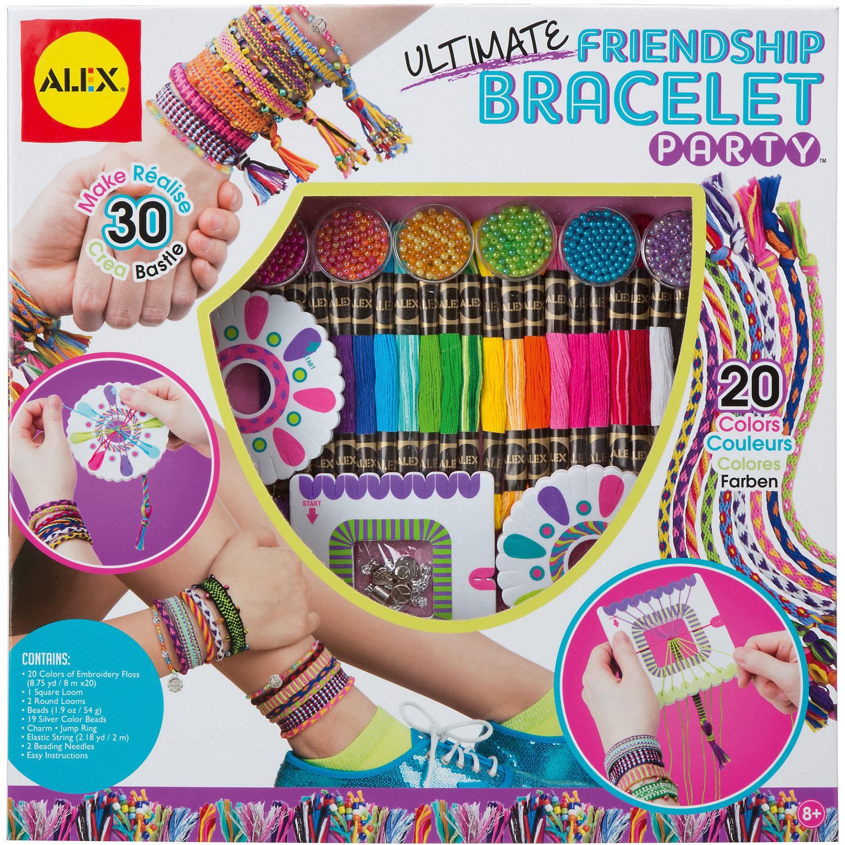 Большой набор для плетения браслетов Друзья, ALEXНаборы для создания украшений<br>Большой набор для плетения браслетов Друзья, ALEX (АЛЕКС) - этот набор позволит создать неповторимые модные браслеты.<br>Большой набор для плетения браслетов Друзья от ALEX (АЛЕКС) приведет в восторг маленьких модниц. С помощью набора девочка сможет самостоятельно создать 30 фенечек-браслетов. Входящие в набор разноцветные нитки, бисер, бусины серебряного цвета, металлические подвески, эластичная нить позволят ребенку сплести браслеты согласно инструкции или придумывая их самостоятельно. Модные аксессуары дополнят образ ребенка, ну а носить украшения, сделанные своими руками, будет вдвойне приятнее. Занятия с творческими наборами прекрасно развивают мелкую моторику, любовь к рукоделию, фантазию и воображение ребенка. Набор продается в красочной упаковке и прекрасно подходит в качестве подарка. Все составляющие набора изготовлены из высококачественных и безопасных для ребенка материалов.<br><br>Дополнительная информация:<br><br>- В наборе: нитки 20 цветов, бисер, бусины серебряного цвета, металлические подвески, эластичная нить, игла для бисера, инструкция<br>- Размеры упаковки: 39,4х6,4х39,4 см.<br>- Вес: 698 гр.<br><br>Большой набор для плетения браслетов Друзья, ALEX (АЛЕКС) можно купить в нашем интернет-магазине.<br><br>Ширина мм: 394<br>Глубина мм: 64<br>Высота мм: 394<br>Вес г: 698<br>Возраст от месяцев: 96<br>Возраст до месяцев: 144<br>Пол: Женский<br>Возраст: Детский<br>SKU: 4556957
