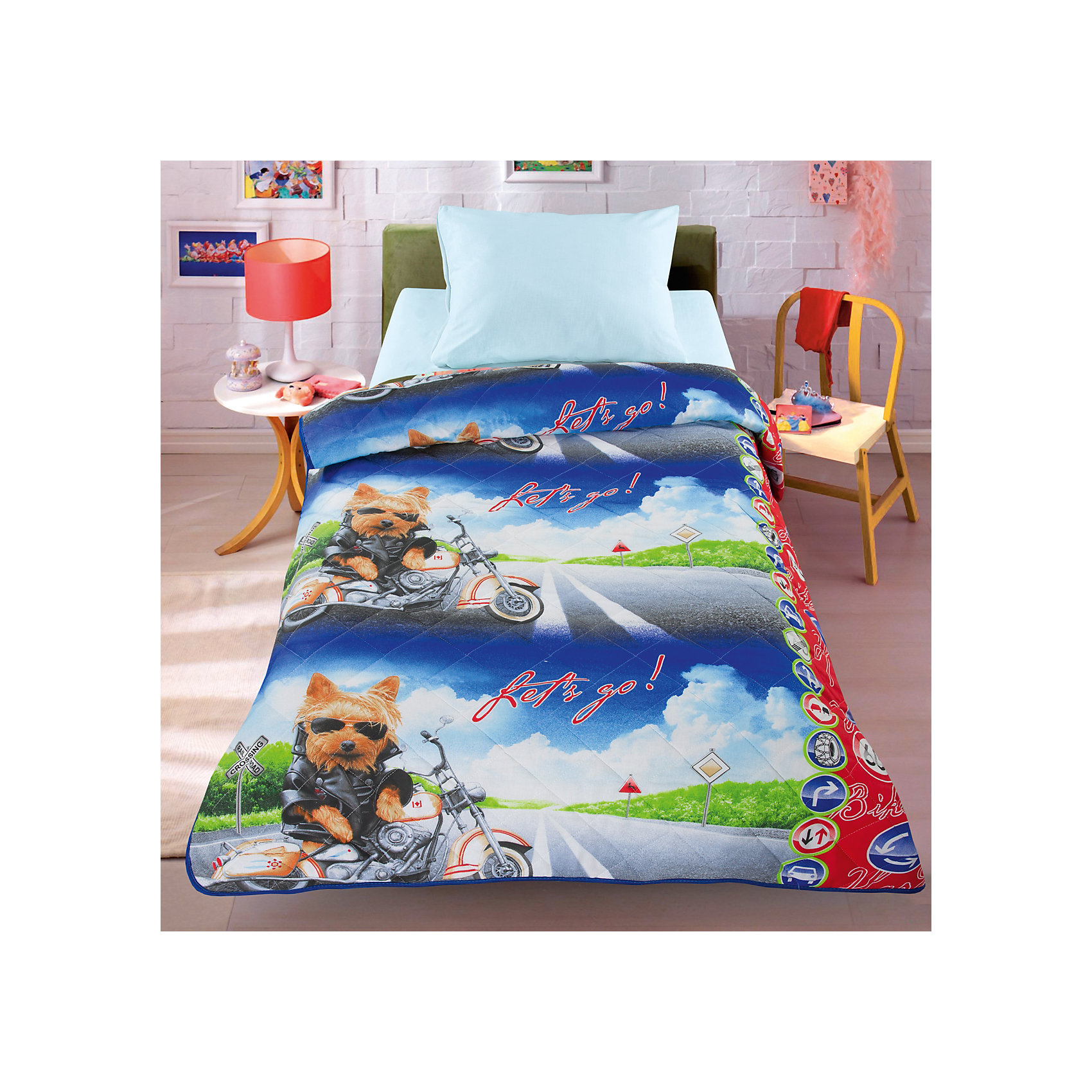 Двустороннее покрывало-одеяло Супербайк 140*200 смДомашний текстиль<br>Яркое стеганое покрывало с оригинальным рисунком и двусторонним дизайном отлично впишется в интерьер детской и обязательно понравится ребенку. Оно выполнено из натурального хлопка, наполнитель - силиконизированное волокно. Изделие можно использовать как одеяло, под ним ребенку не будет жарко даже летом. Прекрасный вариант для детской комнаты. <br><br>Дополнительная информация:<br><br>- Материал верха: хлопок 100%.<br>- Наполнитель: силиконизированное волокно.<br>- Размер: 140х200 см.<br>- Цвет: белый, голубой, черный, красный.<br>- Стирка: машинная, деликатный режим, 30?.<br><br>Двустороннее покрывало-одеяло Супербайк, 140х200 см, можно купить в нашем магазине.<br><br>Ширина мм: 400<br>Глубина мм: 100<br>Высота мм: 500<br>Вес г: 1500<br>Возраст от месяцев: 36<br>Возраст до месяцев: 120<br>Пол: Мужской<br>Возраст: Детский<br>SKU: 4557460