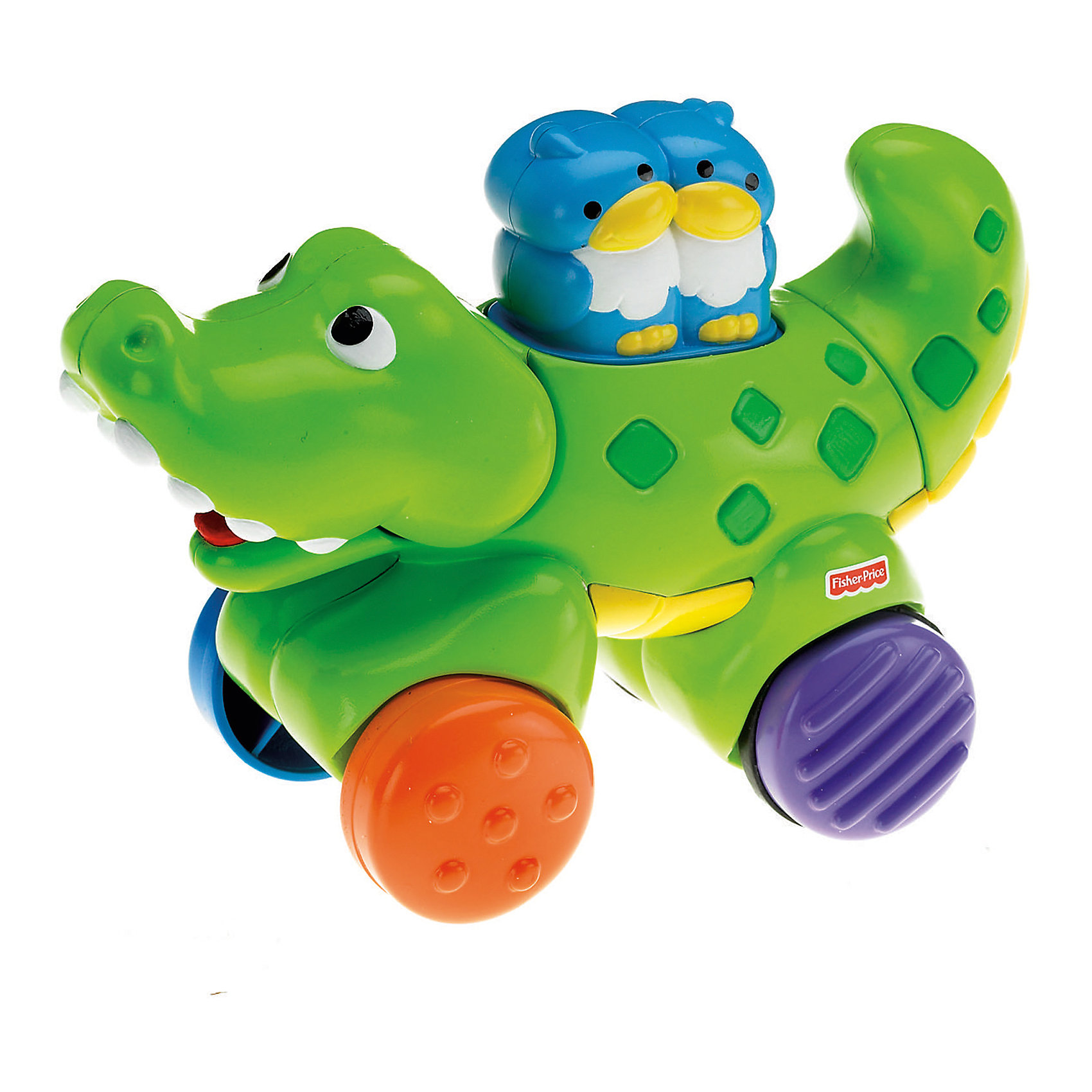 Игрушка инерционная Веселые животные, Fisher-PriceЭта замечательная игрушка обязательно понравится малышам. Очаровательный крокодил катает на спине двух милых птенчиков. Нажми на птичек, и крокодил начнет щелкать зубами и катиться вперед, поворачивая хвостом и закрывая и открывая пасть. Игрушка выполнена из высококачественного экологичного пластика безопасного даже для маленьких детей. <br><br>Дополнительная информация:<br><br>- Материал: пластик. <br>- Размер: 20,5х17х10,5 см. <br>- Крокодил едет, открывает пасть.<br>- Хвост вращается и щелкает. <br>- Поверхность игрушки имеет различную структуру для развития тактильных ощущений малыша.<br><br>Игрушку инерционную, Веселые животные, Fisher-Price (Фишер Прайс) можно купить в нашем магазине.<br><br>Ширина мм: 205<br>Глубина мм: 103<br>Высота мм: 166<br>Вес г: 440<br>Возраст от месяцев: 0<br>Возраст до месяцев: 36<br>Пол: Унисекс<br>Возраст: Детский<br>SKU: 4557621