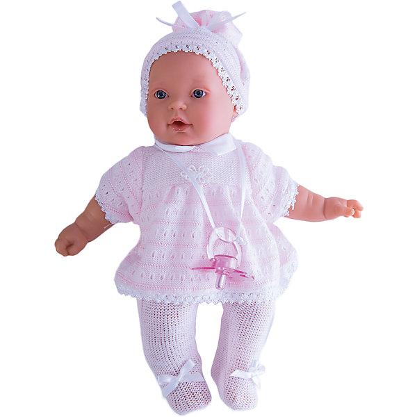 Кукла Лана в розовом, 27 см, Munecas Antonio JuanКуклы<br>Кукла Лана в розовом, 27 см, Munecas Antonio Juan (Мунекас Антонио Хуан) - эта чудесная милая кукла станет любимицей Вашей девочки.<br>Кукла-младенец Лана порадует вашу малышку и подарит ей массу положительных эмоций. Вы влюбитесь в куклу с первого взгляда, стоит лишь посмотреть в ее очаровательные глазки.  Лана выглядит совсем как ребенок. Искусно выполненные детали, такие как складочки, на ручках, личико с детальными прорисовками, пухлые щечки и приоткрытые губки, придают кукле трогательный и реалистичный вид. О Лане надо заботиться, потому что она плачет, если ей вовремя не дать соску. Кукла одета в нежно-розовые ползунки с бантиками и кофточку. На голове у нее милая шапочка. Кофточка и шапочка украшены изящным кружевом. Все элементы наряда выполнены из высококачественного текстиля, который не вызывает аллергических реакций. Тельце у куклы мягко-набивное, голова, ручки и ножки сделаны из мягкого качественного винила. Голова, ручки и ножки подвижны. Кукла упакована в красивую подарочную коробку.<br><br>Дополнительная информация:<br><br>- В комплекте: кукла, соска<br>- Интерактивные функции куклы: выньте соску - кукла заплачет, вставьте соску в ротик - кукла замолчит<br>- Глаза куклы не закрываются<br>- Высоты куклы: 27 см.<br>- Материал: высококачественный винил, текстиль<br>- Батарейки: 3 типа АА (входят в комплект)<br>- Упаковка: подарочная коробка<br>- Размер упаковки: 31,5х18х10,5 см.<br>- Вес: 638 гр.<br><br>Куклу Лана в розовом, 27 см, Munecas Antonio Juan (Мунекас Антонио Хуан) можно купить в нашем интернет-магазине.<br><br>Ширина мм: 315<br>Глубина мм: 180<br>Высота мм: 105<br>Вес г: 638<br>Возраст от месяцев: 36<br>Возраст до месяцев: 84<br>Пол: Женский<br>Возраст: Детский<br>SKU: 4558043