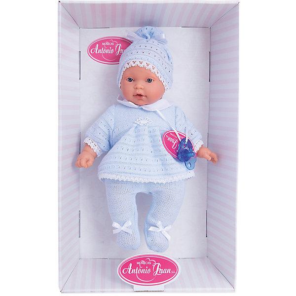 Кукла Лана в голубом, 27 см, Munecas Antonio JuanКуклы<br>Кукла Лана в голубом, 27 см, Munecas Antonio Juan (Мунекас Антонио Хуан) - эта чудесная милая кукла станет любимицей Вашей девочки.<br>Кукла-младенец Лана порадует вашу малышку и подарит ей массу положительных эмоций. Вы влюбитесь в куклу с первого взгляда, стоит лишь посмотреть в ее очаровательные глазки. Лана выглядит совсем как ребенок. Искусно выполненные детали, такие как складочки, на ручках, личико с детальными прорисовками, пухлые щечки и приоткрытые губки, придают кукле трогательный и реалистичный вид. О Лане надо заботиться, потому что она плачет, если ей вовремя не дать соску. Кукла одета в голубые ползунки с бантиками и кофточку. На голове у нее милая шапочка. Кофточка и шапочка украшены изящным кружевом. Все элементы наряда выполнены из высококачественного текстиля, который не вызывает аллергических реакций. Тельце у куклы мягко-набивное, голова, ручки и ножки сделаны из мягкого качественного винила. Голова, ручки и ножки подвижны. Кукла упакована в красивую подарочную коробку.<br><br>Дополнительная информация:<br><br>- В комплекте: кукла, соска<br>- Интерактивные функции куклы: выньте соску - кукла заплачет, вставьте соску в ротик - кукла замолчит<br>- Глаза куклы не закрываются<br>- Высоты куклы: 27 см.<br>- Материал: высококачественный винил, текстиль<br>- Батарейки: 3 типа АА (входят в комплект)<br>- Упаковка: подарочная коробка<br>- Размер упаковки: 31,5х18х10,5 см.<br>- Вес: 638 гр.<br><br>Куклу Лана в голубом, 27 см, Munecas Antonio Juan (Мунекас Антонио Хуан) можно купить в нашем интернет-магазине.<br><br>Ширина мм: 315<br>Глубина мм: 180<br>Высота мм: 105<br>Вес г: 638<br>Возраст от месяцев: 36<br>Возраст до месяцев: 84<br>Пол: Женский<br>Возраст: Детский<br>SKU: 4558044