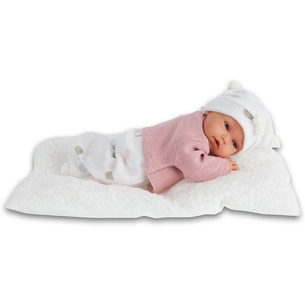 Кукла Ману в розовом, 29 см, Munecas Antonio JuanБренды кукол<br>Кукла Ману в розовом, 29 см, Munecas Antonio Juan (Мунекас Антонио Хуан) - милая малышка подарит вашей девочке много положительных эмоций.<br>Кукла Ману выглядит как настоящий младенец, а ее трогательный внешний вид вызывает только самые положительные и добрые эмоции. Эта чудесная милая малышка станет любимицей Вашей девочки и будет воспитывать в ней доброту, внимание и заботу. Личико куклы сделано с детальными прорисовками. Пухлые щечки, приоткрытые губки, выразительные глаза с пушистыми ресницами придают кукле реалистичный вид. Ману одета в розовую утепленную кофточку, мягкие ползунки в горошек и белую шапочку с помпончиками. Кукла лежит на одеяле. При нажатии на животик куклы, она весело смеется, а так же может позвать маму и папу. Тельце у нее мягко-набивное, голова, ручки и ножки сделаны из высококачественного винила. Голова, ручки и ножки подвижны. Кукла изготовлена из высококачественных и экологически чистых материалов, поэтому безопасна для детей любого возраста, соответствует всем нормам и требованиям к качеству детских товаров. Образы малышей Мунекас разработаны известными европейскими дизайнерами. Они натуралистичны, анатомически точны. Кукла упакована в красивую подарочную коробку.<br><br>Дополнительная информация:<br><br>- В комплекте: кукла, одеяло<br>- Интерактивные функции куклы: нажмите на животик 1 раз кукла засмеется, 2ой раз - кукла скажет мама, 3ий раз - скажет папа<br>- Глаза куклы не закрываются<br>- Высоты куклы: 29 см.<br>- Материал: высококачественный винил, текстиль<br>- Батарейки: 3 типа АА (входят в комплект)<br>- Упаковка: подарочная коробка<br>- Размер упаковки: 35х20х12,5 см.<br>- Вес: 800 гр.<br><br>Куклу Ману в розовом, 29 см, Munecas Antonio Juan (Мунекас Антонио Хуан) можно купить в нашем интернет-магазине.<br><br>Ширина мм: 350<br>Глубина мм: 200<br>Высота мм: 125<br>Вес г: 800<br>Возраст от месяцев: 36<br>Возраст до месяцев: 84<br>Пол: Женский<br>Возраст: Детский<b