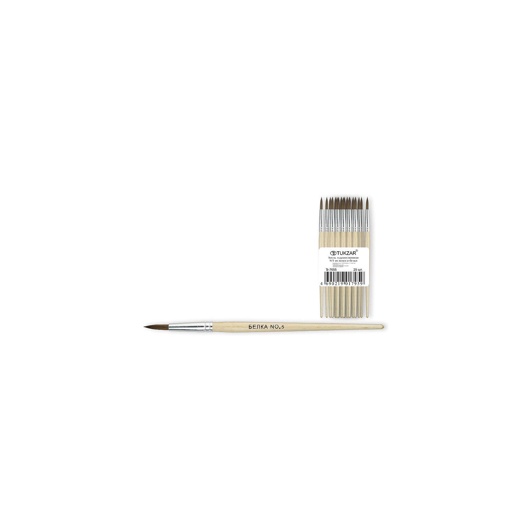 TUKZAR Кисть №5 (белка) кисть художественная белка круглая 9 981126
