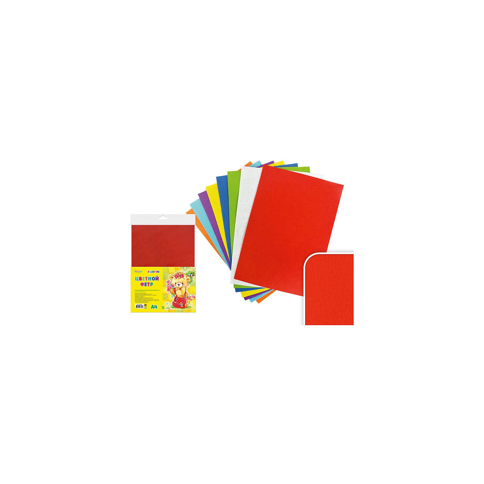 Набор цветного фетра А4 (8 листов, 8 цветов)Набор цветного фетра подойдет для различных аппликаций, позволит ребенку в полной мере выразить себя в творческой деятельности. Фетр - яркий, приятный на ощупь, легко приклеивается. <br><br>Дополнительная информация:<br><br>- Материал: фетр.<br>- Формат листа: А4.<br>- 8 листов в комплекте.<br>- 8 цветов. <br><br>Набор цветного фетра А4 (8 листов, 8 цветов) можно купить в нашем магазине.<br><br>Ширина мм: 305<br>Глубина мм: 212<br>Высота мм: 5<br>Вес г: 100<br>Возраст от месяцев: 36<br>Возраст до месяцев: 2147483647<br>Пол: Унисекс<br>Возраст: Детский<br>SKU: 4558404