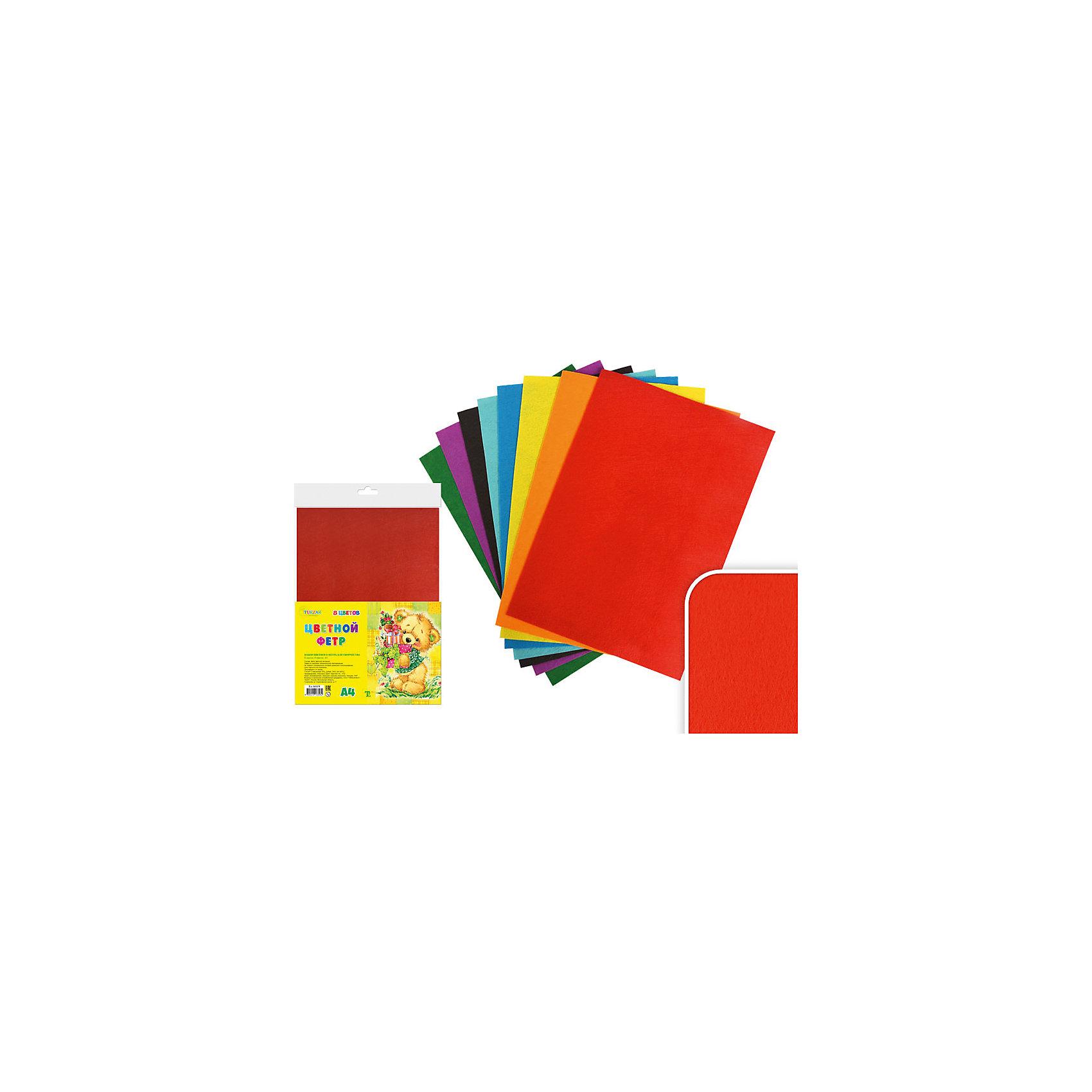 Набор цветного фетра А4 (8 листов, 8 цветов)Набор цветного фетра подойдет для различных аппликаций, позволит ребенку в полной мере выразить себя в творческой деятельности. Фетр - яркий, приятный на ощупь, легко приклеивается. <br><br>Дополнительная информация:<br><br>- Материал: фетр.<br>- Формат листа: А4.<br>- 8 листов в комплекте.<br>- 8 цветов. <br><br>Набор цветного фетра А4 (8 листов, 8 цветов) можно купить в нашем магазине.<br><br>Ширина мм: 305<br>Глубина мм: 212<br>Высота мм: 5<br>Вес г: 100<br>Возраст от месяцев: 36<br>Возраст до месяцев: 2147483647<br>Пол: Унисекс<br>Возраст: Детский<br>SKU: 4558405