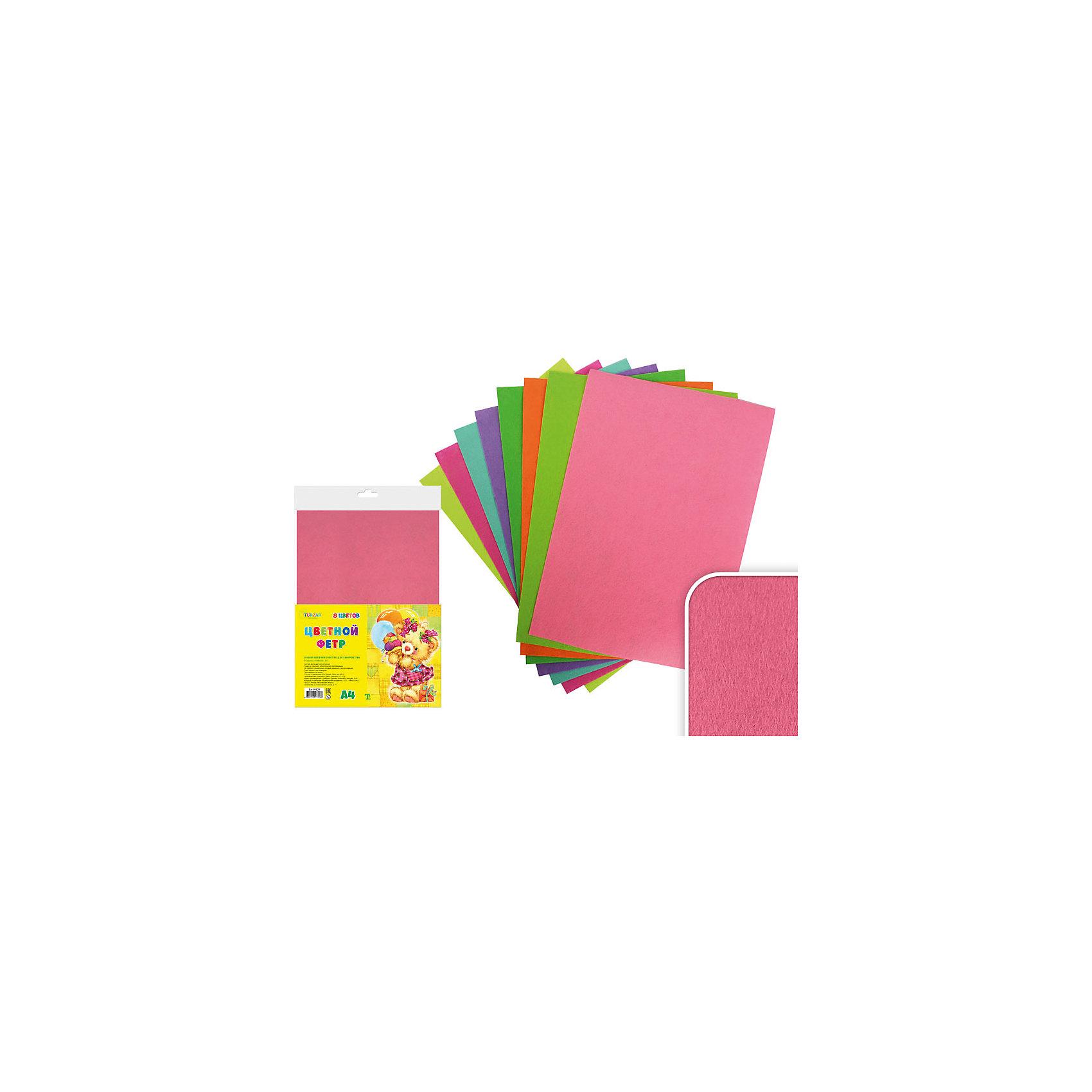 Набор цветного фетра А4 (8 листов, 8 цветов)Набор цветного фетра подойдет для различных аппликаций, позволит ребенку в полной мере выразить себя в творческой деятельности. Фетр - яркий, приятный на ощупь, легко приклеивается. <br><br>Дополнительная информация:<br><br>- Материал: фетр.<br>- Формат листа: А4.<br>- 8 листов в комплекте.<br>- 8 цветов. <br><br>Набор цветного фетра А4 (8 листов, 8 цветов) можно купить в нашем магазине.<br><br>Ширина мм: 305<br>Глубина мм: 212<br>Высота мм: 5<br>Вес г: 100<br>Возраст от месяцев: 36<br>Возраст до месяцев: 2147483647<br>Пол: Унисекс<br>Возраст: Детский<br>SKU: 4558406