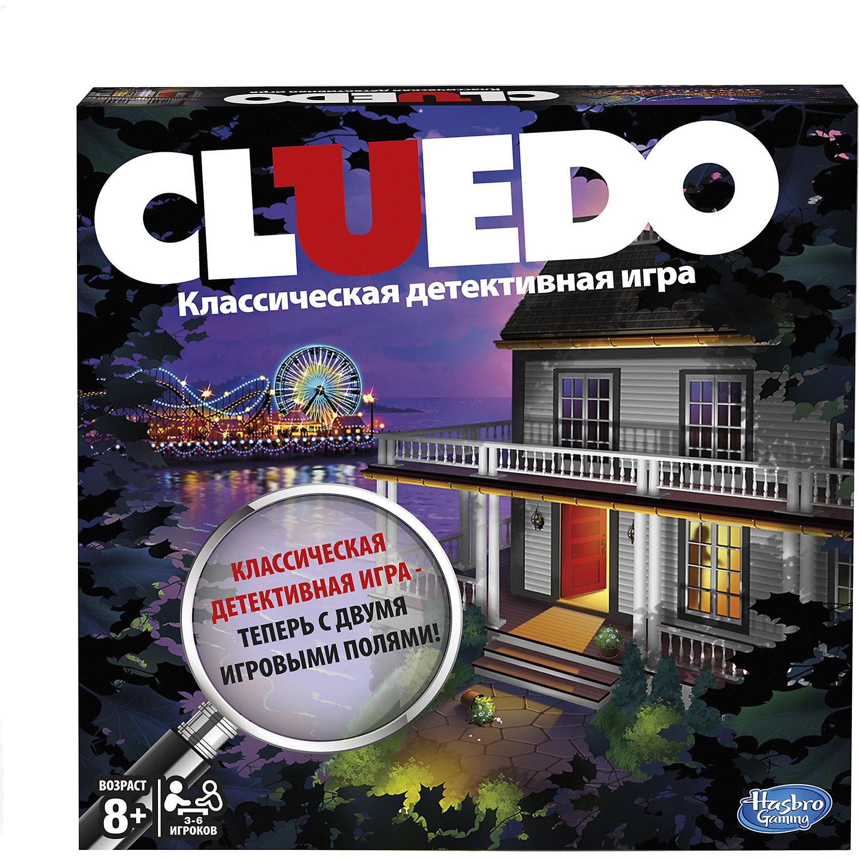 Игра Клуэдо, HasbroИгры для развлечений<br>Классическая детективная игра с двусторонним полем ( с одной стороны - особняк, с другой - пляж). Теперь нужно раскрыть 2 убийства. Побеждает самый внимательный! Раскрой убийство Сэмюэля Блэка и почувствуй себя настоящим сыщиком. <br>Настольная игра - прекрасный вариант проведения досуга, кроме того, она помогает развить логику, интуицию, дедукцию, внимание. Отличный подарок на любой праздник!<br><br>Дополнительная информация:<br><br>- Материал: картон, пластик.<br>- Размер упаковки: 40х27х5 см.<br>- Размер игрового поля: 50?50 см<br>- Высота фишки: 4 см.<br>- Высота фигурки орудий убийства: 3 см.<br>- Размер карточек: 8.5х5,5 см.<br>- Блокнот детектива: 14х10 см.<br>- Комплектация: игровое поле, план особняка, 1 желтый конверт для разгадки убийства, 1 блокнот детектива, 6 фишек персонажей, 21 черная карта Улики, 13 красных карт Бонуса,<br>6 орудий убийства, 2 кубика, правила игры на русском языке.<br>- Количество игроков: от 2 до 6.<br><br>Игру Клуэдо, Hasbro (Хасбро), можно купить в нашем магазине.<br><br>Ширина мм: 50<br>Глубина мм: 267<br>Высота мм: 267<br>Вес г: 733<br>Возраст от месяцев: 96<br>Возраст до месяцев: 144<br>Пол: Унисекс<br>Возраст: Детский<br>SKU: 4558528