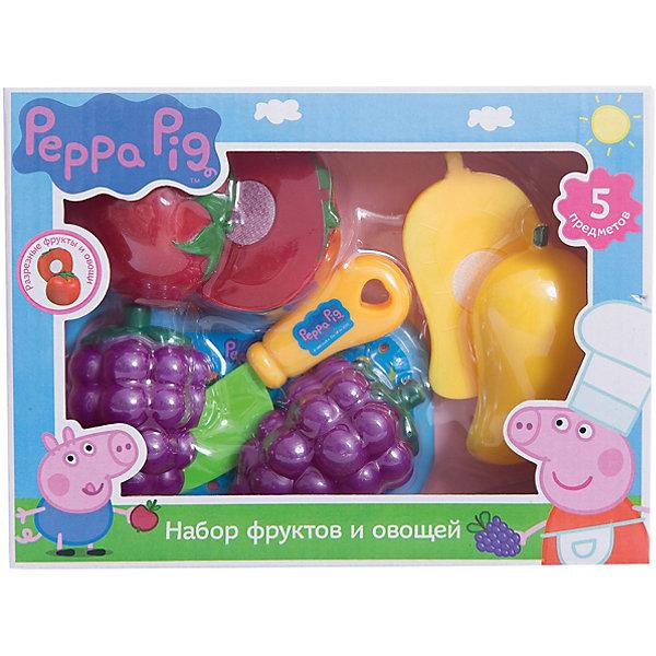 Набор Фрукты и овощи, Свинка ПеппаИгрушечные продукты питания<br>Набор Фрукты и овощи, Свинка Пеппа – набор пластиковых продуктов и кухонной утвари позволит малышке почувствовать себя настоящей хозяйкой.<br>С игровым набором фруктов и овощей Свинка Пеппа юные фантазеры смогут организовать множество увлекательных сюжетно-ролевых игр, во время которых у них будут развиваться навыки общения, словарный запас, моторика и, конечно, интерес к кулинарии, что особенно важно для развития хозяйственности в девочках. Такой набор станет прекрасным дополнением для детской кухни.<br><br>Дополнительная информация:<br><br>- В наборе 5 предметов: помидор, виноград, перец (каждый продукт разделен на 2 половинки, скрепляющихся на липучку), разделочная доска, безопасный ножик<br>- Игрушки выполнены из высококачественного пластика, не имеют острых углов<br>- Товар сертифицирован<br>- Упаковка: коробка с окном<br>- Размер упаковки: 20х15х5,5 см.<br>- Вес: 156 гр.<br><br>Набор Фрукты и овощи, Свинка Пеппа можно купить в нашем интернет-магазине.<br>Ширина мм: 200; Глубина мм: 150; Высота мм: 55; Вес г: 156; Возраст от месяцев: 36; Возраст до месяцев: 72; Пол: Женский; Возраст: Детский; SKU: 4558614;