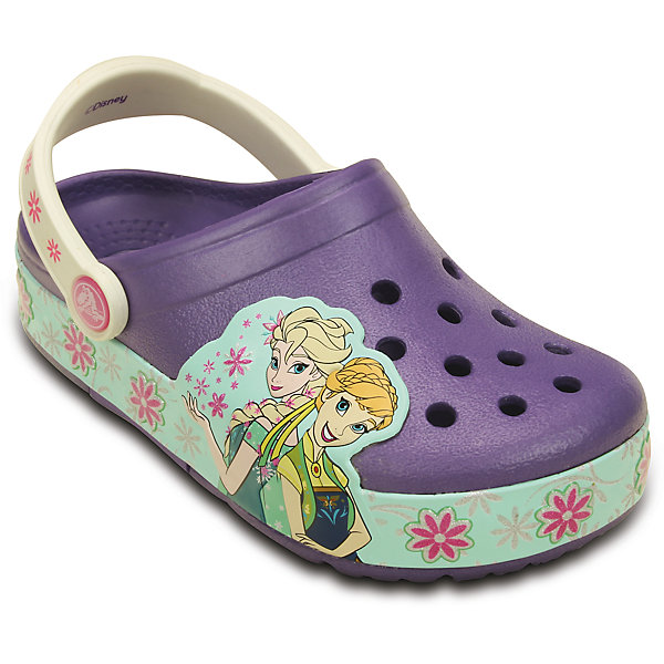 Сабо со светодиодами Kids' CrocsLights Frozen Fever Clog для девочки CrocsПляжная обувь<br>Характеристики товара:<br><br>• цвет: фиолетовый<br>• материал: 100% полимер Croslite™<br>• встроенные светодиоды<br>• запас энергии элементов питания примерно 350 тыс. шагов<br>• вентиляционные отверстия<br>• бактериостатичный материал<br>• пяточный ремешок фиксирует стопу<br>• толстая устойчивая подошва<br>• отверстия для использования украшений<br>• анатомическая стелька с массажными точками стимулирует кровообращение<br>• страна бренда: США<br>• страна изготовитель: Китай<br><br>Для правильного развития ребенка крайне важно, чтобы обувь была удобной. Такие сабо обеспечивают детям необходимый комфорт, а анатомическая стелька с массажными линиями для стимуляции кровообращения позволяет ножкам дольше не уставать. Сабо легко надеваются и снимаются, отлично сидят на ноге. Материал, из которого они сделаны, не дает размножаться бактериям, поэтому такая обувь препятствует образованию неприятного запаха и появлению болезней стоп. Данная модель особенно понравится детям - ведь в подошве встроены мигающие светодиоды!<br>Обувь от американского бренда Crocs в данный момент завоевала широкую популярность во всем мире, и это не удивительно - ведь она невероятно удобна. Её носят врачи, спортсмены, звёзды шоу-бизнеса, люди, которым много времени приходится бывать на ногах - они понимают, как важна комфортная обувь. Продукция Crocs - это качественные товары, созданные с применением новейших технологий. Обувь отличается стильным дизайном и продуманной конструкцией. Изделие производится из качественных и проверенных материалов, которые безопасны для детей.<br><br>Сабо со светодиодами Kids' CrocsLights Frozen Fever Clog для девочки от торговой марки Crocs можно купить в нашем интернет-магазине.<br>Ширина мм: 225; Глубина мм: 139; Высота мм: 112; Вес г: 290; Цвет: лиловый; Возраст от месяцев: -2147483648; Возраст до месяцев: 2147483647; Пол: Женский; Возраст: Детский; Размер: 23,33/34,27,26,29
