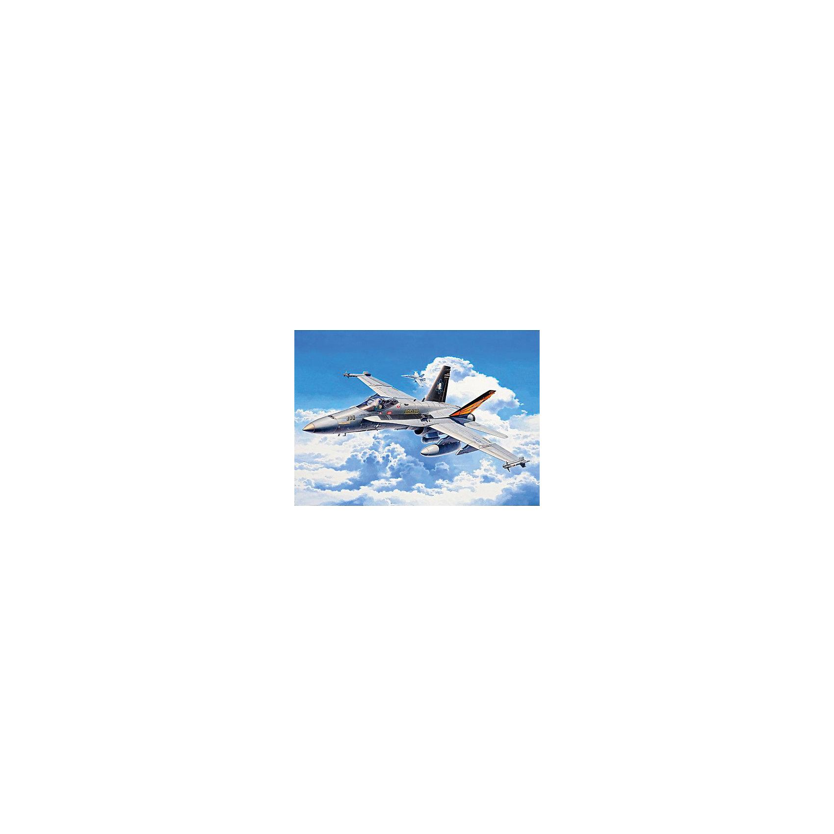 Набор Истребитель-бомбардировщик, RevellИстребитель-бомбардировщик F/A-18C Hornet был разработан по поручению военно-морских сил США и корпуса морской пехоты США для использования на авианосцах класса Nimitz. С 1986 года истребитель был вовлечён во множество военных операций США. Основными задачами бомбардировщика являются обеспечения стратегического преимущества для американской армии, как в воздухе, так и на земле, а также разведывательные миссии и наблюдение за воздушным пространством.  Великолепная сборная модель прекрасно детализирована и представляет собой абсолютно точную уменьшенную копию своего прототипа в масштабе 1:72. Компания-производитель модели Revell отнеслась со всей ответственностью к деталям макета: превосходно выполненные фактурные поверхности самолёта, подробная кабина пилота, оригинальные шасси и система вооружения не дадут сомневаться в подлинности макета F/A-18C Hornet. Всего модель состоит из 88 отдельных компонентов, которые предстоит собрать и склеить в соответствии с инструкцией, а затем покрыть краской. В наборе прилагаются краски оригинальных цветов, кисточка, уникальный набор наклеек для создания неповторимого дизайна, приближённого к оригиналу, а также качественный клей в удобной упаковке. <br>Длина готовой модели истребителя-бомбардировщика составляет 235 мм, а размах крыльев – 173 мм.  Разработанная для детей от 10 лет, сборная модель американского истребителя-бомбардировщика F/A-18C Hornet, несомненно, обрадует не только юных любителей моделирования, но и взрослых его поклонников. Ведь моделирование относят к одному из наиболее полезных хобби, ведь оно отлично тренирует мелкую моторику, развивает такие навыки как усидчивость, аккуратность и внимательность. Кроме того, развивается пространственное мышление, логика и креативность.<br><br>Набор Истребитель-бомбардировщик, Revell  можно купить в нашем магазине.<br><br>Ширина мм: 370<br>Глубина мм: 340<br>Высота мм: 45<br>Вес г: 480<br>Возраст от месяцев: 132<br>Возраст до месяцев: 192<
