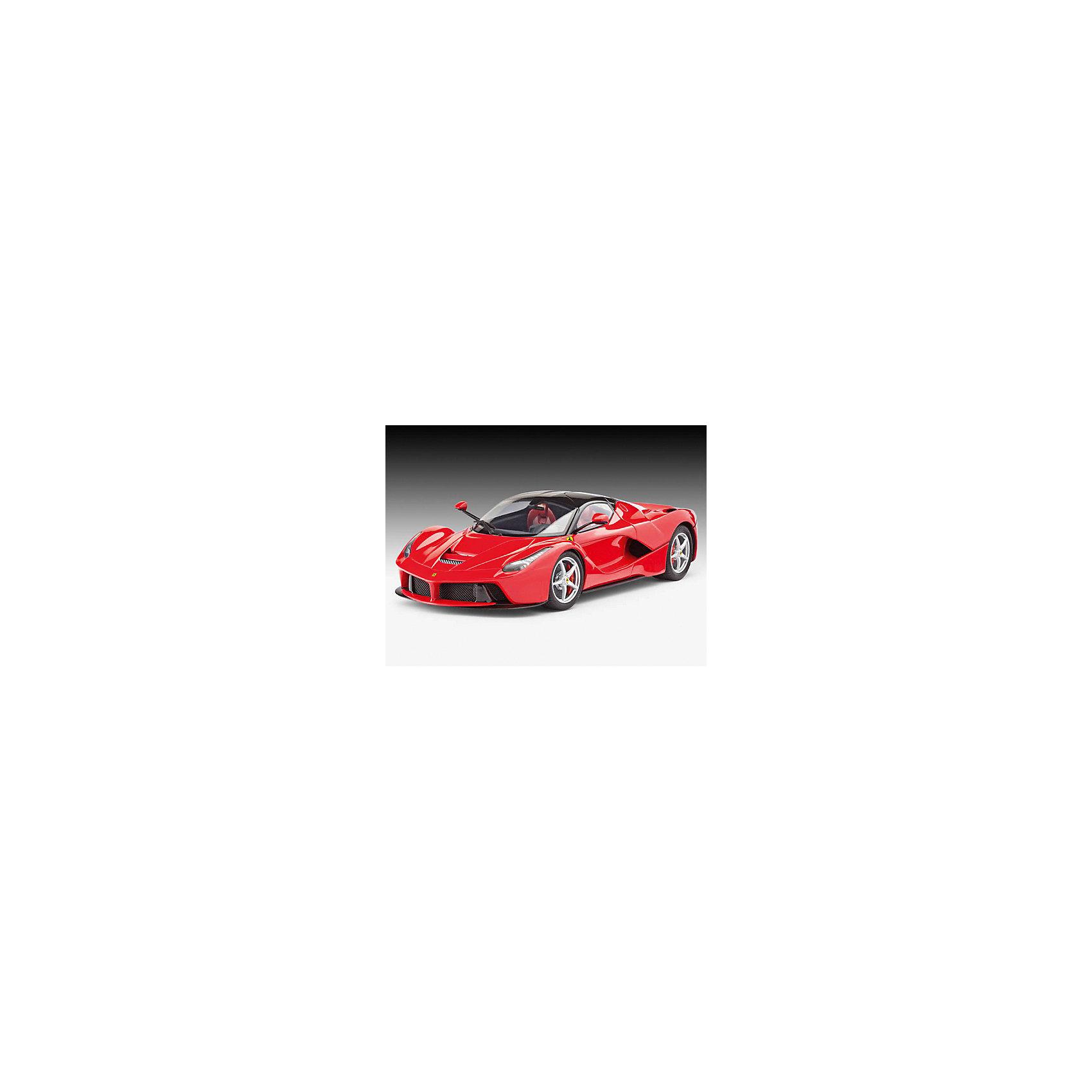 Набор Автомобиль LaFerrari, RevellМодели для склеивания<br>Эта, несомненно, фантастическая спортивная машина отличается не только своим потрясающим дизайном, но и невероятной эффективностью. Автомобиль LaFerrari с двумя сиденьями оснащён мощным 6,3 литровым двигателем V12 в 800 лошадиных сил, а также дополнен двумя электрическими двигателями общей мощностью в 163 лошадиных силы. Этот невероятный автомобиль с гибридным двигателем достигает скорости в 200 км/час мене, чем за 7 секунд, а максимальная скорость достигает 350 км/час.  Шикарная сборная модель знаменитого спорт-кара LaFerrari впечатляет своей внимательностью к деталям, ведь благодаря им макет в масштабе 1:24 так схож с оригиналом. Корпус автомобиля проработан в мельчайших подробностях и имеет фактурные поверхности. Интерьер с подлинной приборной панелью превосходно детализирован. Колёса машина вращаются, а под открывающимся капотом располагается уникальный 12-цилиндровый двигатель идеально скопированный с оригинала. Некоторые детали машины хромированы для большей достоверности. Всего модель состоит из 139 отдельных компонентов, которые необходимо собрать, склеить и покрыть краской в соответствии с инструкцией в комплекте. Также в наборе прилагаются комплект красок с кисточкой, клей в удобной упаковке, а также комплект наклеек с международными регистрационными номерами. Длина готовой модели после сборки составляет 198 мм.  Неповторимая сборная модель великолепного спортивного автомобиля LaFerrari, произведённая немецкой компанией Revell, предназначена для детей от 12 лет. Макет настоящего гоночного болида от Ferrari определённо принесёт уйму положительных эмоций не только юному поклоннику моделирования, но и взрослому любителю, ведь моделирование – один из наиболее полезных и увлекательных хобби. Оно превосходно тренирует мелкую моторику, развивает такие навыки как усидчивость, аккуратность и внимательность. Кроме того, развивается пространственное мышление, логика и креативность.<br><br>Набор Автомобиль LaF