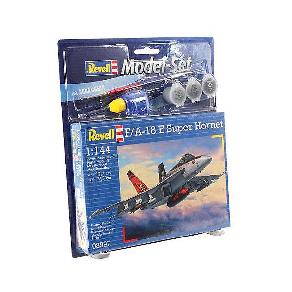 Набор Самолет Истребитель-бомбардировщик Боинг F/A-18E/F «Супер Хорнет»Самолёты и вертолёты<br>Характеристики товара:<br><br>• возраст: от 6 лет;<br>• масштаб: 1:144;<br>• количество деталей: 21 шт;<br>• материал: пластик; <br>• клей и краски в комплект не входят;<br>• габариты модели: 12,7х9,3 см;<br>• бренд, страна бренда: Revell (Ревел),Германия;<br>• страна-изготовитель: Польша.<br><br>Набор для склеивания «Самолет Истребитель-бомбардировщик Боинг F/A-18E/F «Супер Хорнет» поможет вам и вашему ребенку придумать увлекательное занятие на долгое время и получить игрушку в виде настоящего боевого истребителя.<br><br>Набор включает в себя 63 пластиковых элемента и подробную инструкцию. Все детали должны быть склеены  в нужной последовательности, после чего готовая модель  окрашивается специальной краской. Необходимые для проведения процесса сборки краски, кисточка и клей, а также подробная инструкция  входят в комплект набора. Готовый истребитель украсит стол или книжную полку ребенка. <br><br>Процесс сборки развивает интеллектуальные и инструментальные способности, воображение и конструктивное мышление, а также прививает практические навыки работы со схемами и чертежами. <br><br>Набор для склеивания «Самолет Истребитель-бомбардировщик Боинг F/A-18E/F «Супер Хорнет», 63 дет., Revell (Ревел) можно купить в нашем интернет-магазине.<br>Ширина мм: 270; Глубина мм: 230; Высота мм: 33; Вес г: 220; Возраст от месяцев: 120; Возраст до месяцев: 180; Пол: Мужской; Возраст: Детский; SKU: 4560894;