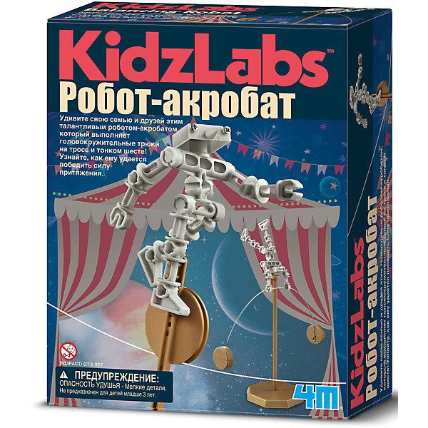 Робот акробат, 4MРобототехника и электроника<br>Робот акробат, 4M - набор поможет юному исследователю устроить цирковое представление с роботом, которому неведомо понятие сила притяжения.<br>Удивите свою семью и друзей этим талантливым роботом-акробатом, который выполняет головокружительные трюки на тросе и тонком шесте! Узнайте, как ему удается победить силу притяжения. Набор развивает интеллектуальные и творческие способности ребенка, стимулирует воображение и интерес к науке. Абсолютно безопасен, тщательно протестирован и соответствует европейским стандартам.<br><br>Дополнительная информация:<br><br>- В наборе: набор частей тела роботы, набор капсул-грузиков, одноколесный велосипед, шест, струна-трос<br>- Батарейки: 2 типа АА (в комплект не входят)<br>- Материал: металл, пластмасса<br>- Дополнительно потребуются: крестовая отвертка, монеты (для наполнения капсул-грузиков)<br>- Размер упаковки: 22 х 17 х 6 см.<br>- Вес: 206 гр.<br><br>Набор Робот акробат, 4M можно купить в нашем интернет-магазине.<br>Ширина мм: 220; Глубина мм: 170; Высота мм: 60; Вес г: 206; Возраст от месяцев: 96; Возраст до месяцев: 144; Пол: Унисекс; Возраст: Детский; SKU: 4561224;