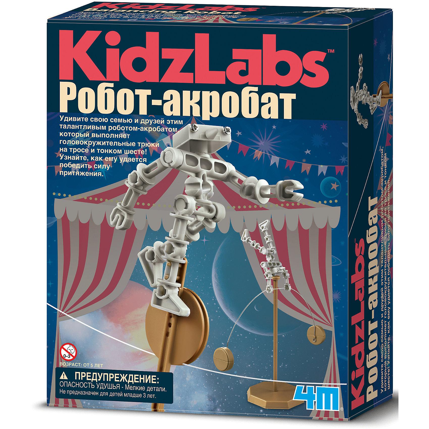 Робот акробат, 4MРобот акробат, 4M - набор поможет юному исследователю устроить цирковое представление с роботом, которому неведомо понятие сила притяжения.<br>Удивите свою семью и друзей этим талантливым роботом-акробатом, который выполняет головокружительные трюки на тросе и тонком шесте! Узнайте, как ему удается победить силу притяжения. Набор развивает интеллектуальные и творческие способности ребенка, стимулирует воображение и интерес к науке. Абсолютно безопасен, тщательно протестирован и соответствует европейским стандартам.<br><br>Дополнительная информация:<br><br>- В наборе: набор частей тела роботы, набор капсул-грузиков, одноколесный велосипед, шест, струна-трос<br>- Батарейки: 2 типа АА (в комплект не входят)<br>- Материал: металл, пластмасса<br>- Дополнительно потребуются: крестовая отвертка, монеты (для наполнения капсул-грузиков)<br>- Размер упаковки: 22 х 17 х 6 см.<br>- Вес: 206 гр.<br><br>Набор Робот акробат, 4M можно купить в нашем интернет-магазине.<br><br>Ширина мм: 220<br>Глубина мм: 170<br>Высота мм: 60<br>Вес г: 206<br>Возраст от месяцев: 96<br>Возраст до месяцев: 144<br>Пол: Унисекс<br>Возраст: Детский<br>SKU: 4561224