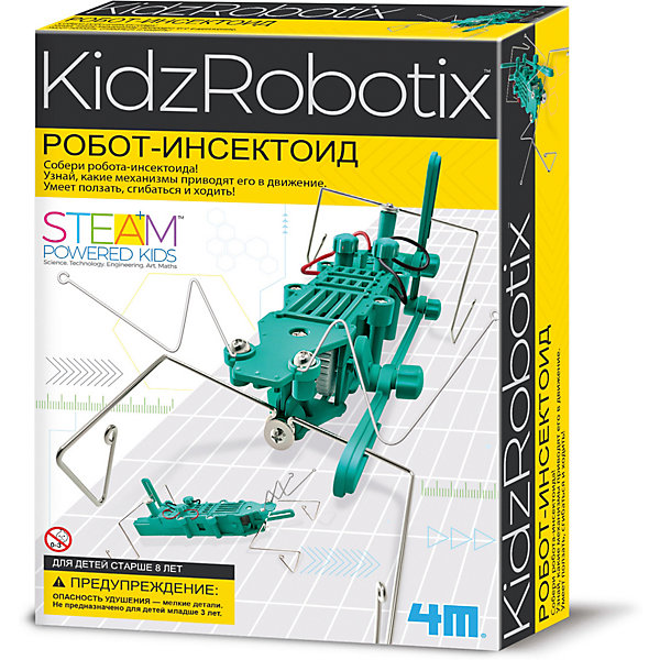 Робот инсектоид, 4MРобототехника и электроника<br>Робот инсектоид, 4M - набор поможет юному исследователю сконструировать робота-сверчка, который делает удивительные трюки.<br>Соберите этого несложного робота-сверчка! Разберитесь в его механизме. Он ползает, крутится и бегает! Набор развивает интеллектуальные и творческие способности ребенка, стимулирует воображение и интерес к науке. Абсолютно безопасен, тщательно протестирован и соответствует европейским стандартам.<br><br>Дополнительная информация:<br><br>- В наборе: большие и малые шестеренки; терминалы; двигатели; мотор с шестерней; отсек для батареек; провода; тельце; крылышки; лапки; 2 антенны; шайбы; гайки; болты; винты; инструкция<br>- Длина робота вместе с антеннами-усами: 28 см.<br>- Батарейки: 1 типа ААА (в комплект не входят)<br>- Материал: металл, пластмасса<br>- Дополнительно потребуется: крестовая отвертка<br>- Размер упаковки: 17 х 24 х 6 см.<br>- Вес: 236 гр.<br><br>Набор Робот инсектоид, 4M можно купить в нашем интернет-магазине.<br><br>Ширина мм: 170<br>Глубина мм: 240<br>Высота мм: 60<br>Вес г: 236<br>Возраст от месяцев: 96<br>Возраст до месяцев: 144<br>Пол: Унисекс<br>Возраст: Детский<br>SKU: 4561226