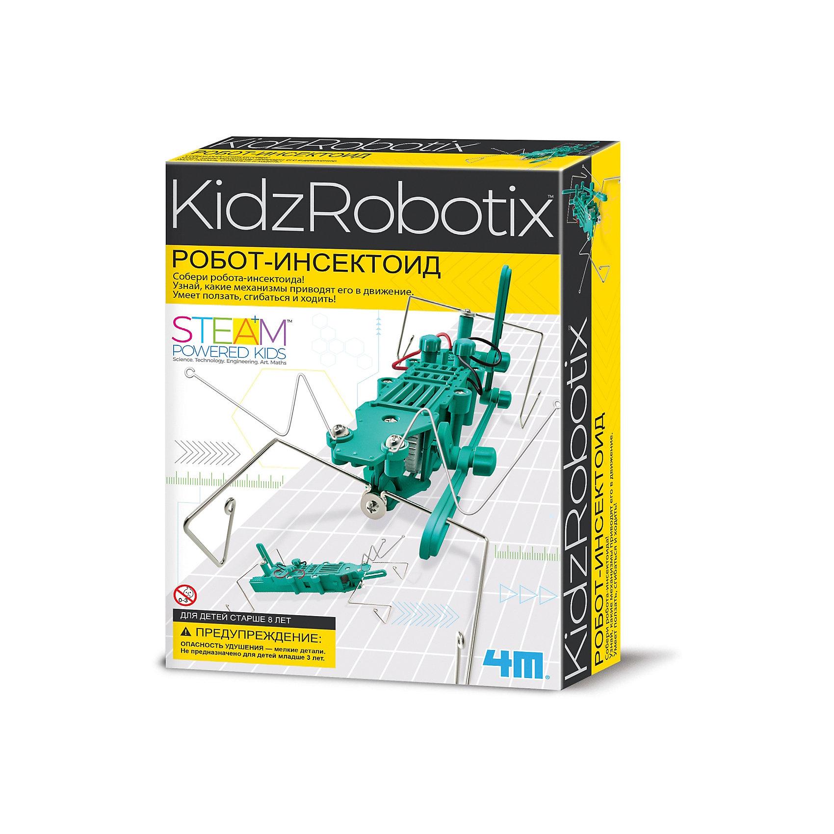 Робот инсектоид, 4MРобот инсектоид, 4M - набор поможет юному исследователю сконструировать робота-сверчка, который делает удивительные трюки.<br>Соберите этого несложного робота-сверчка! Разберитесь в его механизме. Он ползает, крутится и бегает! Набор развивает интеллектуальные и творческие способности ребенка, стимулирует воображение и интерес к науке. Абсолютно безопасен, тщательно протестирован и соответствует европейским стандартам.<br><br>Дополнительная информация:<br><br>- В наборе: большие и малые шестеренки; терминалы; двигатели; мотор с шестерней; отсек для батареек; провода; тельце; крылышки; лапки; 2 антенны; шайбы; гайки; болты; винты; инструкция<br>- Длина робота вместе с антеннами-усами: 28 см.<br>- Батарейки: 1 типа ААА (в комплект не входят)<br>- Материал: металл, пластмасса<br>- Дополнительно потребуется: крестовая отвертка<br>- Размер упаковки: 17 х 24 х 6 см.<br>- Вес: 236 гр.<br><br>Набор Робот инсектоид, 4M можно купить в нашем интернет-магазине.<br><br>Ширина мм: 170<br>Глубина мм: 240<br>Высота мм: 60<br>Вес г: 236<br>Возраст от месяцев: 96<br>Возраст до месяцев: 144<br>Пол: Унисекс<br>Возраст: Детский<br>SKU: 4561226