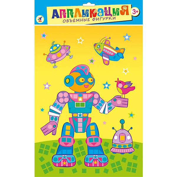 Объемные фигурки РоботКартонные модели<br>Аппликация Объемные фигурки Робот наверняка понравится Вашему малышу, а процесс ее изготовления принесет массу удовольствия и положительных эмоций. В комплекте Вы найдете цветную основу с контуром рисунка и разноцветные детали из пластика на самоклеящейся основе. Вместе с ребенком рассмотрите картинку-основу и найдите места, на которые нужно наклеить пластиковые детали. Аккуратно снимите защитный слой с выбранной детали и вклейте ее в контур рисунка. Красочная картинка с изображением забавного разноцветного робота украсит комнату ребенка или станет оригинальным сувениром для друзей и родных. Набор способствует развитию цветового восприятия, образно-логического мышления, пространственного воображения и мелкой моторики.<br><br>Дополнительная информация:<br><br>- В комплекте: цветная основа с рисунком, самоклеящиеся пластиковые детали разной формы 8 цветов.<br>- Материал: картон, пластик.<br>- Размер упаковки: 35 х 25 х 0,4 см.<br>- Вес: 74 гр.<br><br>Объемные фигурки Робот, Дрофа Медиа, можно купить в нашем интернет-магазине.<br><br>Ширина мм: 250<br>Глубина мм: 350<br>Высота мм: 3<br>Вес г: 85<br>Возраст от месяцев: 36<br>Возраст до месяцев: 2147483647<br>Пол: Унисекс<br>Возраст: Детский<br>SKU: 4561860