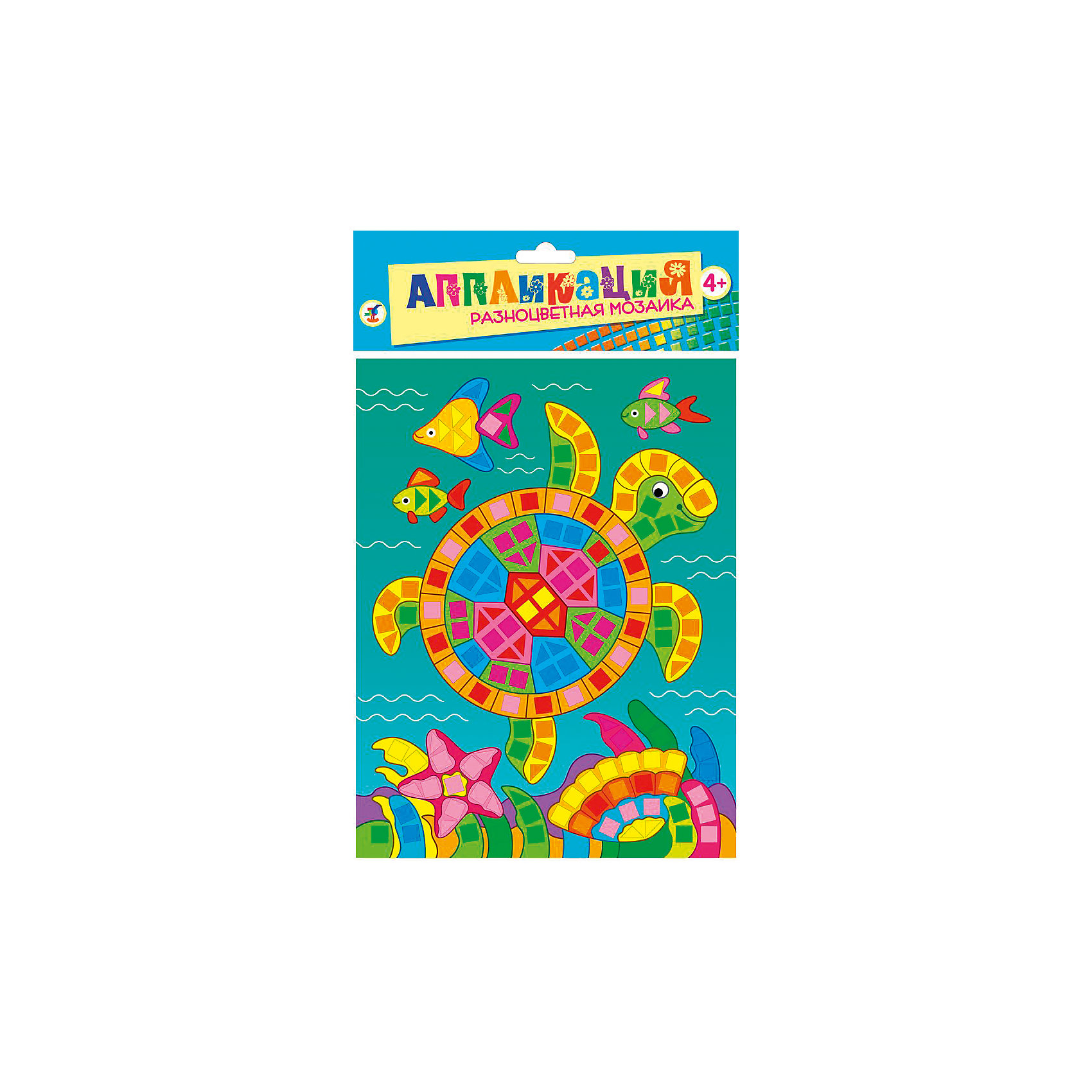Разноцветная мозаика мини Морская черепахаРазноцветная мозаика Морская черепаха - увлекательный набор для детского творчества, который поможет Вашему ребенку без ножниц и клея сделать красивую картинку. Техника выполнения мозаики проста и не представляет сложностей: на картинку-основу уже нанесен рисунок со схемой размещения квадратиков, нужно лишь снять защитную пленку с деталей и аккуратно вклеить их согласно образцу. Разноцветные детали-квадратики выполнены из мягкого, приятного на ощупь материала ЭВА.. Все элементы имеют самоклеющуюся основу, легко приклеиваются и прочно держатся. Итогом работы станет красочная мозаика с изображением разноцветной морской черепашки. Работа с мозаикой развивает у ребенка цветовое восприятие, образно-логическое мышление и пространственное воображение, тренирует мелкую моторику.<br><br>Дополнительная информация:<br><br>- В комплекте: основа с рисунком и схемой размещения квадратиков, самоклеящиеся квадратики из мягкого пластика 8 цветов.<br>- Материал: картон, мягкий пластик ЭВА.<br>- Размер упаковки: 20 х 15 x 0,5 см.<br>- Вес: 38 гр.<br><br>Разноцветную мозаику мини Морская черепаха, Дрофа Медиа, можно купить в нашем интернет-магазине.<br><br>Ширина мм: 160<br>Глубина мм: 205<br>Высота мм: 7<br>Вес г: 85<br>Возраст от месяцев: 48<br>Возраст до месяцев: 2147483647<br>Пол: Унисекс<br>Возраст: Детский<br>SKU: 4561874