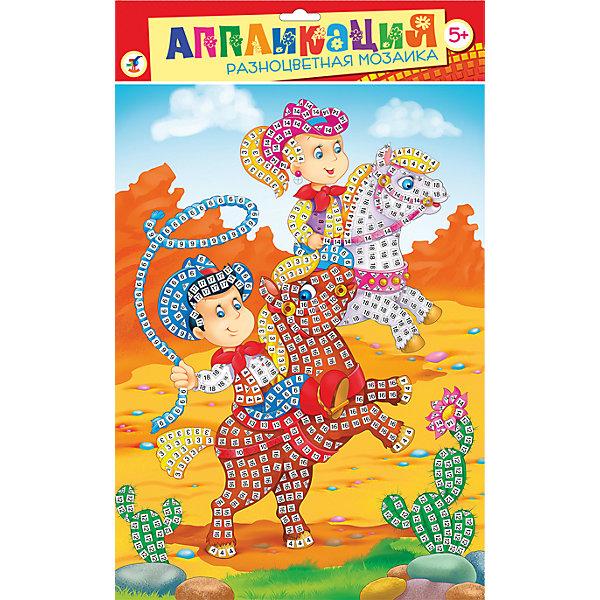 Разноцветная мозаика Забавные лошадкиМозаика детская<br>Разноцветная мозаика Забавные лошадки - увлекательный набор для детского творчества, который поможет Вашему ребенку без ножниц и клея сделать красивую картинку. Техника выполнения мозаики проста и не представляет сложностей: на картинку-основу уже нанесен рисунок со схемой размещения квадратиков, нужно лишь снять защитную пленку с деталей и аккуратно вклеить их согласно образцу. Дополните изображение декоративными элементами и блестящими стразами. Разноцветные детали-квадратики выполнены из мягкого, приятного на ощупь материала ЭВА.. Все элементы имеют самоклеющуюся основу, легко приклеиваются и прочно держатся. Итогом работы станет красочная мозаика с изображением веселых ковбоев на забавных лошадках. Работа с мозаикой развивает у ребенка цветовое восприятие, образно-логическое мышление и пространственное воображение, тренирует мелкую моторику.<br><br>Дополнительная информация:<br><br>- В комплекте: основа с рисунком и схемой размещения квадратиков, самоклеящиеся квадратики из мягкого пластика 8 цветов, декоративные элементы (стразы, глазки и др.).<br>- Материал: картон, мягкий пластик ЭВА.<br>- Размер упаковки: 35 х 25 x 0,5 см.<br>- Вес: 94 гр.<br><br>Разноцветную мозаику Забавные лошадки, Дрофа Медиа, можно купить в нашем интернет-магазине.<br>Ширина мм: 350; Глубина мм: 250; Высота мм: 3; Вес г: 85; Возраст от месяцев: 60; Возраст до месяцев: 2147483647; Пол: Унисекс; Возраст: Детский; SKU: 4561876;