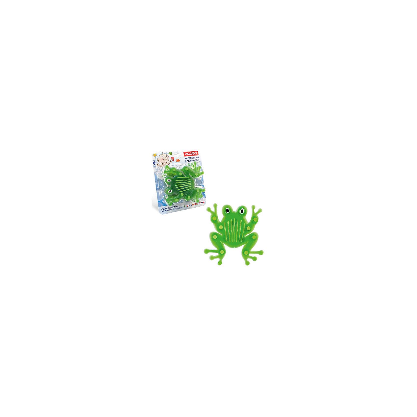 Набор ковриков Лягушка на присосках (6 шт)Ванная комната<br>Мини-коврики для ванной комнаты - это яркое дополнение к купанию малыша. Это и игра и развитие моторики и изучение зверушек. <br>Колоссальный и постоянно растущий спрос на них обусловлен реакцией малышей и их мам на данное изобретение по всему миру.<br>Мини-коврики снабжены присосками и превосходно клеятся на влажный кафель.<br><br>Ширина мм: 190<br>Глубина мм: 170<br>Высота мм: 40<br>Вес г: 180<br>Возраст от месяцев: -2147483648<br>Возраст до месяцев: 2147483647<br>Пол: Унисекс<br>Возраст: Детский<br>SKU: 4563296