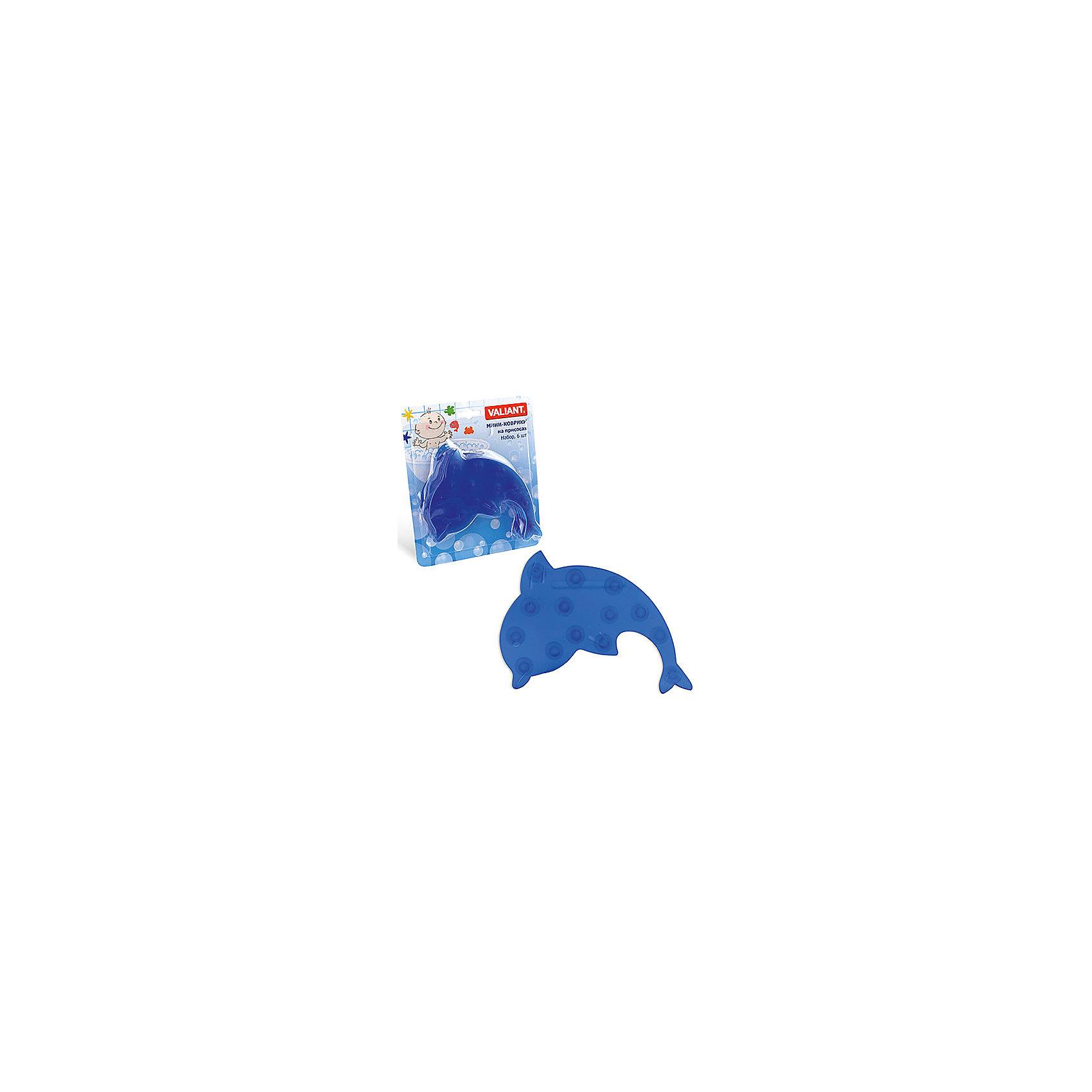 Набор ковриков Дельфин на присосках (6 шт)Ванная комната<br>Мини-коврики для ванной комнаты - это яркое дополнение к купанию малыша. Это и игра и развитие моторики и изучение зверушек. <br>Колоссальный и постоянно растущий спрос на них обусловлен реакцией малышей и их мам на данное изобретение по всему миру.<br>Мини-коврики снабжены присосками и превосходно клеятся на влажный кафель.<br><br>Ширина мм: 190<br>Глубина мм: 170<br>Высота мм: 40<br>Вес г: 180<br>Возраст от месяцев: -2147483648<br>Возраст до месяцев: 2147483647<br>Пол: Унисекс<br>Возраст: Детский<br>SKU: 4563298