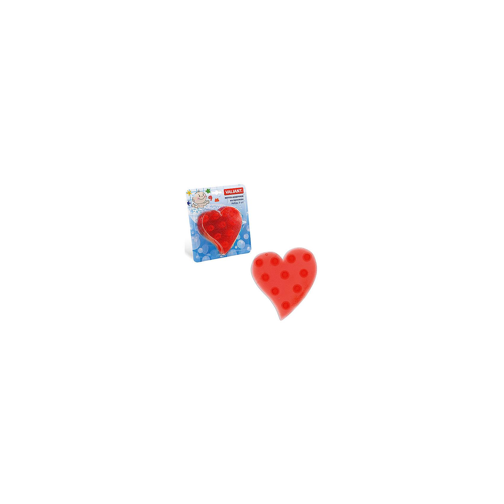 Набор ковриков Сердце на присосках (6 шт)Ванная комната<br>Мини-коврики для ванной комнаты - это яркое дополнение к купанию малыша. Это и игра и развитие моторики и изучение зверушек. <br>Колоссальный и постоянно растущий спрос на них обусловлен реакцией малышей и их мам на данное изобретение по всему миру.<br>Мини-коврики снабжены присосками и превосходно клеятся на влажный кафель.<br><br>Ширина мм: 190<br>Глубина мм: 170<br>Высота мм: 40<br>Вес г: 150<br>Возраст от месяцев: -2147483648<br>Возраст до месяцев: 2147483647<br>Пол: Унисекс<br>Возраст: Детский<br>SKU: 4563299