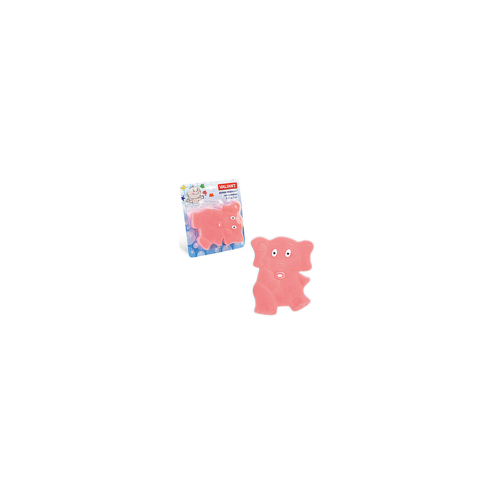 Набор ковриков Слоник на присосках (4 шт)Мини-коврики для ванной комнаты - это яркое дополнение к купанию малыша. Это и игра и развитие моторики и изучение зверушек. <br>Колоссальный и постоянно растущий спрос на них обусловлен реакцией малышей и их мам на данное изобретение по всему миру.<br>Мини-коврики снабжены присосками и превосходно клеятся на влажный кафель.<br><br>Ширина мм: 190<br>Глубина мм: 170<br>Высота мм: 40<br>Вес г: 200<br>Возраст от месяцев: -2147483648<br>Возраст до месяцев: 2147483647<br>Пол: Унисекс<br>Возраст: Детский<br>SKU: 4563302