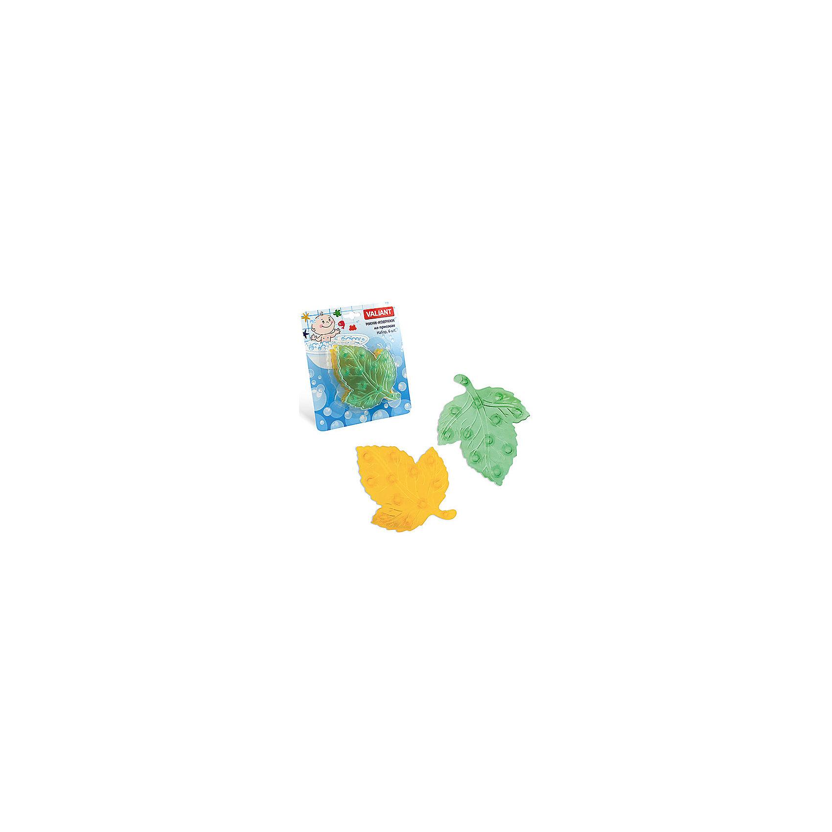Мини-коврики для ванной Листики, 6 шт (желтый и зеленый)Ванная комната<br>Мини-коврики для ванной комнаты - это яркое дополнение к купанию малыша. Это и игра и развитие моторики и изучение зверушек. <br>Колоссальный и постоянно растущий спрос на них обусловлен реакцией малышей и их мам на данное изобретение по всему миру.<br>Мини-коврики снабжены присосками и превосходно клеятся на влажный кафель.<br><br>Ширина мм: 110<br>Глубина мм: 140<br>Высота мм: 50<br>Вес г: 116<br>Возраст от месяцев: -2147483648<br>Возраст до месяцев: 2147483647<br>Пол: Унисекс<br>Возраст: Детский<br>SKU: 4563308