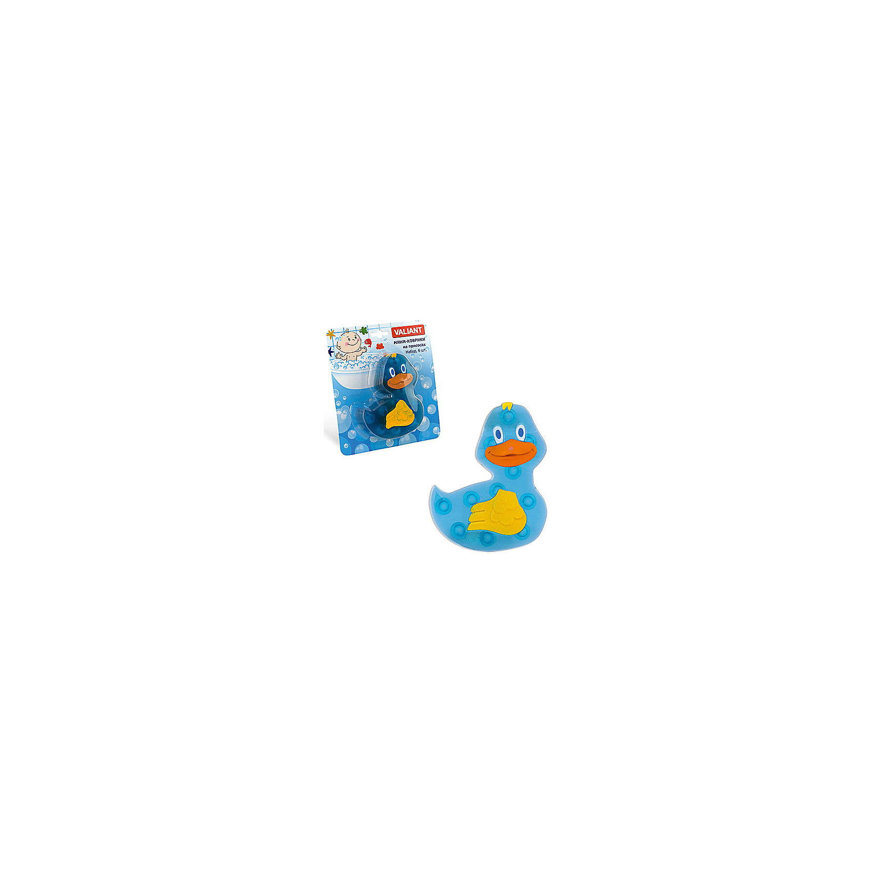 Набор ковриков Уточка на присосках (6 шт)Мини-коврики для ванной комнаты - это яркое дополнение к купанию малыша. Это и игра и развитие моторики и изучение зверушек. <br>Колоссальный и постоянно растущий спрос на них обусловлен реакцией малышей и их мам на данное изобретение по всему миру.<br>Мини-коврики снабжены присосками и превосходно клеятся на влажный кафель.<br><br>Ширина мм: 100<br>Глубина мм: 130<br>Высота мм: 50<br>Вес г: 154<br>Возраст от месяцев: -2147483648<br>Возраст до месяцев: 2147483647<br>Пол: Унисекс<br>Возраст: Детский<br>SKU: 4563309