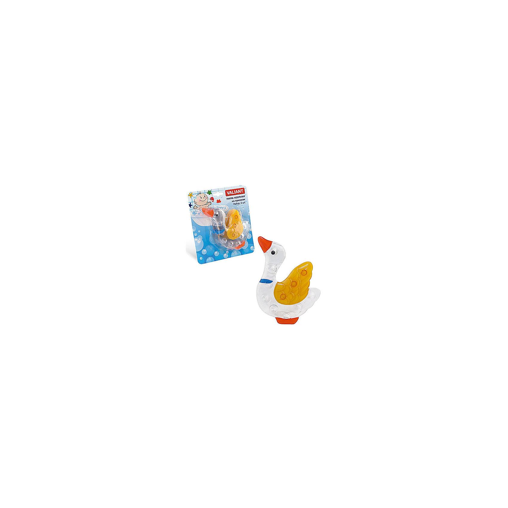 Набор ковриков Гусь на присосках (6 шт)Ванная комната<br>Мини-коврики для ванной комнаты - это яркое дополнение к купанию малыша. Это и игра и развитие моторики и изучение зверушек. <br>Колоссальный и постоянно растущий спрос на них обусловлен реакцией малышей и их мам на данное изобретение по всему миру.<br>Мини-коврики снабжены присосками и превосходно клеятся на влажный кафель.<br><br>Ширина мм: 120<br>Глубина мм: 130<br>Высота мм: 40<br>Вес г: 191<br>Возраст от месяцев: -2147483648<br>Возраст до месяцев: 2147483647<br>Пол: Унисекс<br>Возраст: Детский<br>SKU: 4563313