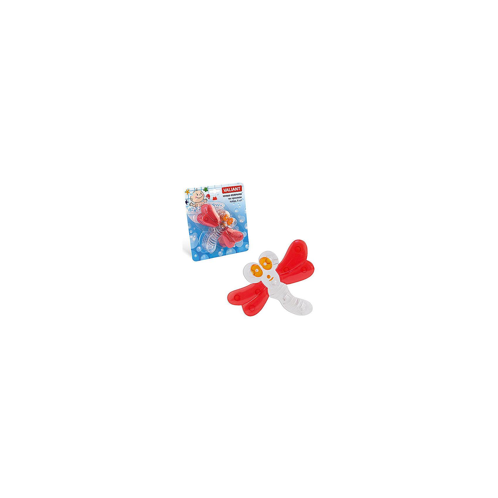 Набор ковриков Стрекоза на присосках (6 шт)Мини-коврики для ванной комнаты - это яркое дополнение к купанию малыша. Это и игра и развитие моторики и изучение зверушек. <br>Колоссальный и постоянно растущий спрос на них обусловлен реакцией малышей и их мам на данное изобретение по всему миру.<br>Мини-коврики снабжены присосками и превосходно клеятся на влажный кафель.<br><br>Ширина мм: 140<br>Глубина мм: 110<br>Высота мм: 50<br>Вес г: 172<br>Возраст от месяцев: -2147483648<br>Возраст до месяцев: 2147483647<br>Пол: Унисекс<br>Возраст: Детский<br>SKU: 4563314
