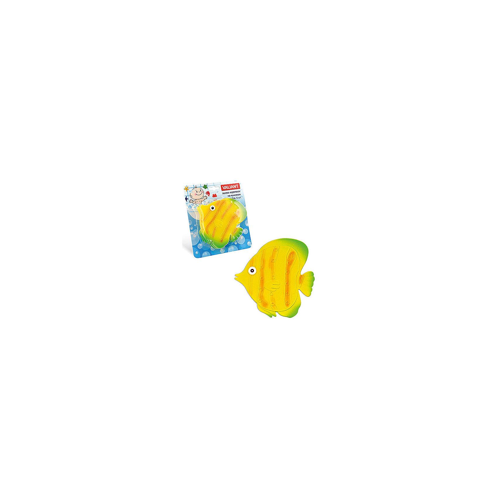 Набор ковриков Рыба на присосках (6 шт)Мини-коврики для ванной комнаты - это яркое дополнение к купанию малыша. Это и игра и развитие моторики и изучение зверушек. <br>Колоссальный и постоянно растущий спрос на них обусловлен реакцией малышей и их мам на данное изобретение по всему миру.<br>Мини-коврики снабжены присосками и превосходно клеятся на влажный кафель.<br><br>Ширина мм: 130<br>Глубина мм: 140<br>Высота мм: 50<br>Вес г: 198<br>Возраст от месяцев: -2147483648<br>Возраст до месяцев: 2147483647<br>Пол: Унисекс<br>Возраст: Детский<br>SKU: 4563315