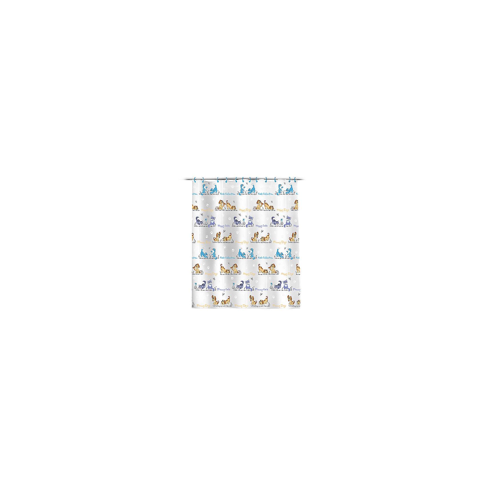 VALIANT Штора для ванной Кошки и собаки 180*180 см штора для ванной swensa антик цвет бежевый 180 х 180 см