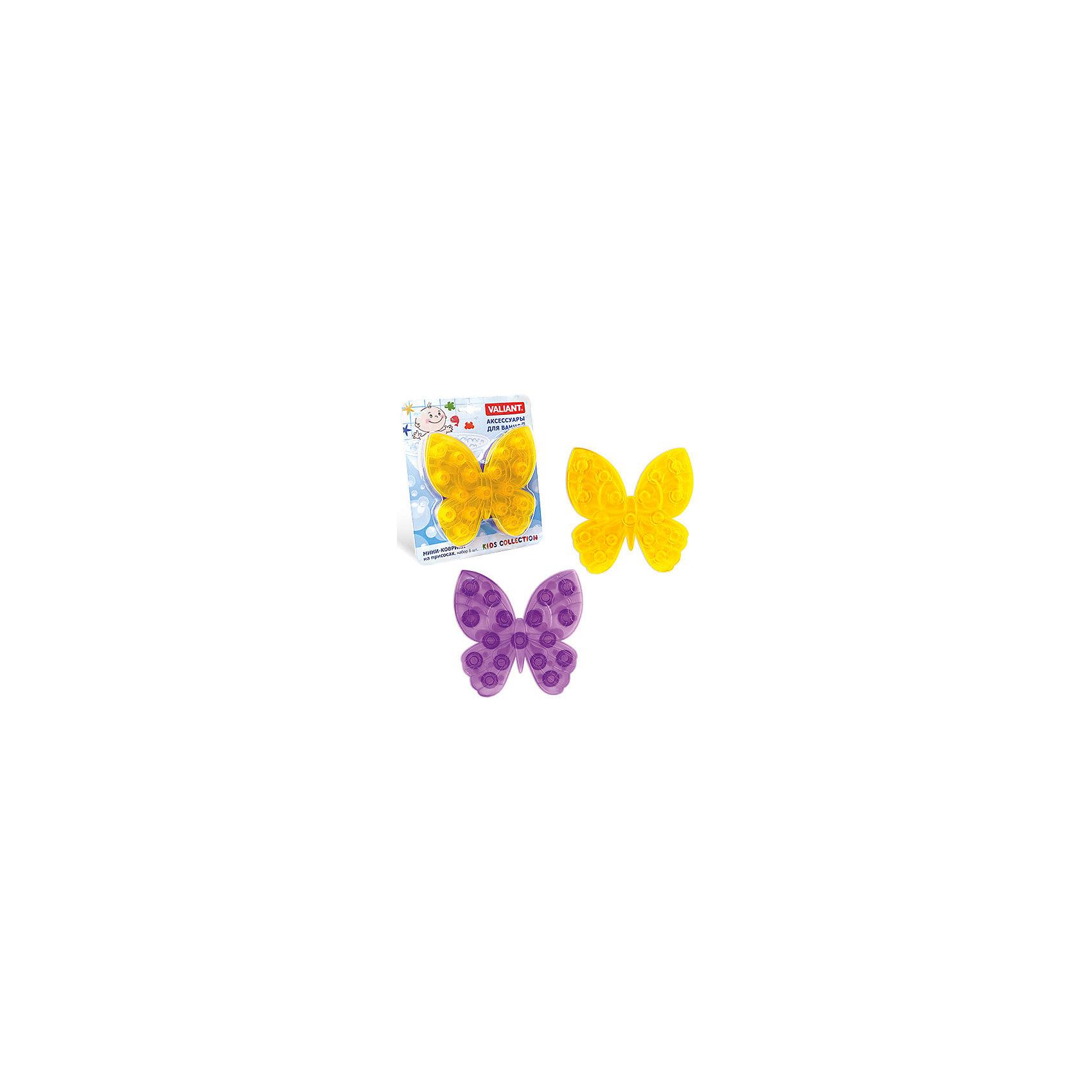 Набор ковриков Мотылек на присосках (6 шт)Ванная комната<br>Мини-коврики для ванной комнаты - это яркое дополнение к купанию малыша. Это и игра и развитие моторики и изучение зверушек. <br>Колоссальный и постоянно растущий спрос на них обусловлен реакцией малышей и их мам на данное изобретение по всему миру.<br>Мини-коврики снабжены присосками и превосходно клеятся на влажный кафель.<br><br>Ширина мм: 170<br>Глубина мм: 35<br>Высота мм: 200<br>Вес г: 192<br>Возраст от месяцев: -2147483648<br>Возраст до месяцев: 2147483647<br>Пол: Унисекс<br>Возраст: Детский<br>SKU: 4563329