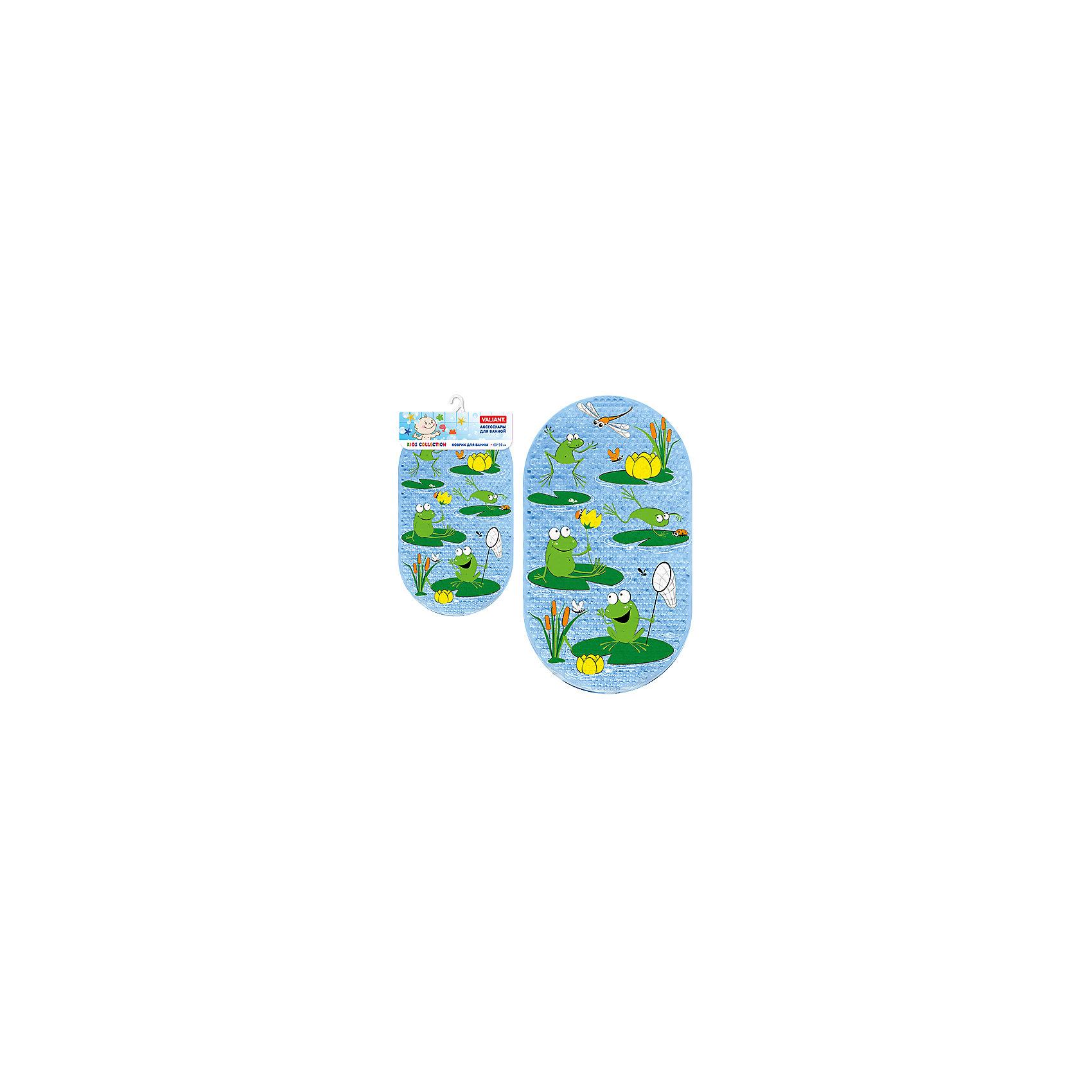 Коврик для ванны Лягушата 69*39 смВанная комната<br>Коврик для ванны Лягушата 69*39 см украшен изображением веселых зеленых лягушат. Он идеально подходит для ванны и душа и обеспечивает надежную защиту от скольжения и падения во время водных процедур или на мокром полу ванной. Коврик хорошо прилегает к любой ровной поверхности с помощью множества присосок. Изделие выполнено из поливинилхлорида с антибактериальным покрытием, не содержащего вредных добавок и полностью безопасного для здоровья малыша. Его неоднородная рифлёная поверхность обладает массажным эффектом и способствует развитию моторики. Оригинальная овальная форма и приятная цветовая гамма оживят интерьер и подарят хорошее настроение при купании.<br><br>Дополнительная информация:<br> <br>- возраст: от 1 года.<br>- материал: поливинилхлорид с антибактериальными добавками.<br>- размер: 69*39 см.<br>- вес: 525 гр.<br><br>Коврик для ванны Лягушата 69*39 см. можно купить в нашем интернет-магазине.<br><br>Ширина мм: 390<br>Глубина мм: 30<br>Высота мм: 760<br>Вес г: 542<br>Возраст от месяцев: -2147483648<br>Возраст до месяцев: 2147483647<br>Пол: Унисекс<br>Возраст: Детский<br>SKU: 4563355