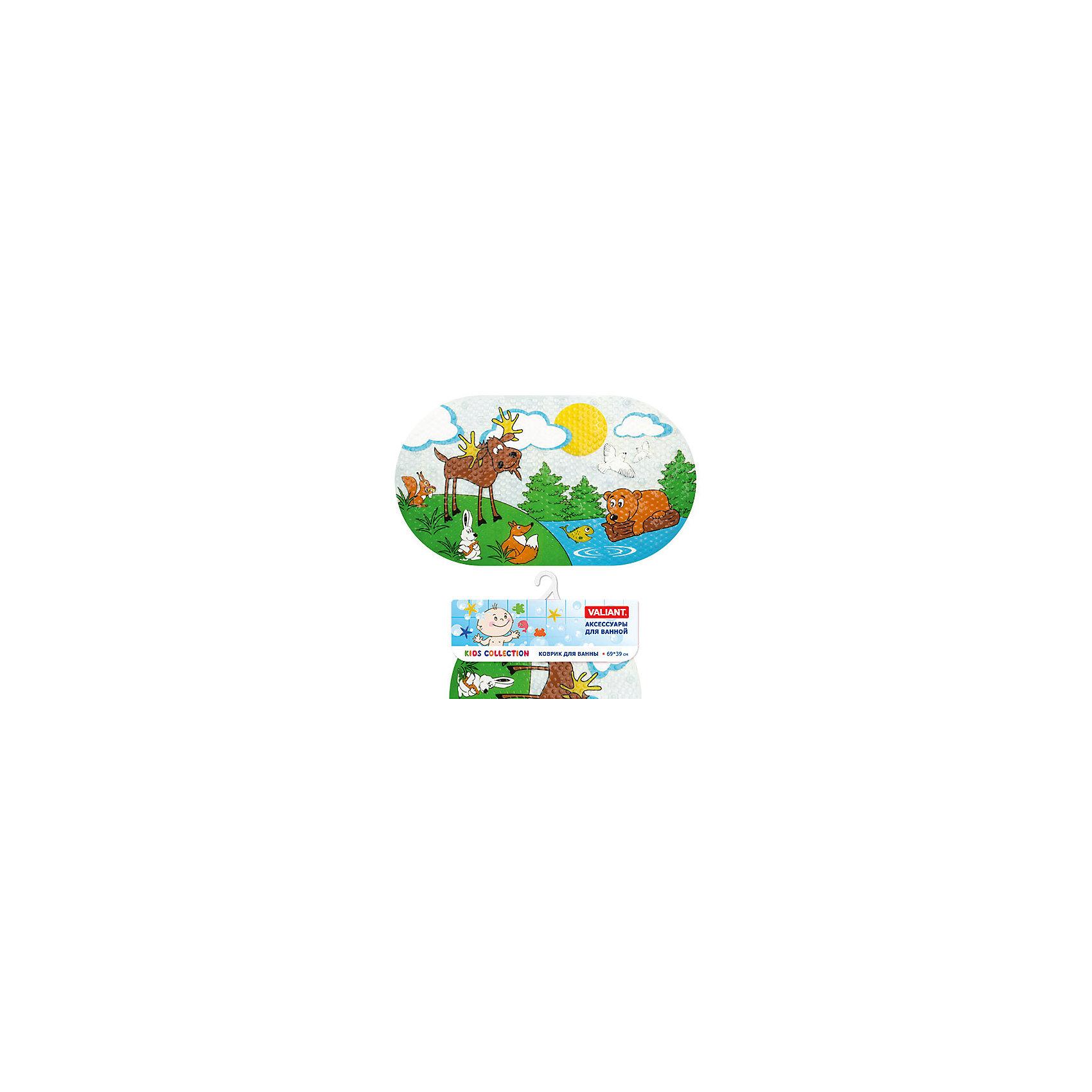 Коврик для ванны Лесные животные 69*39 смВанная комната<br>Коврик для ванны Лесные животные 69*39 см. украшен изображением веселых зеленых лягушат. Он идеально подходит для ванны и душа и обеспечивает надежную защиту от скольжения и падения во время водных процедур или на мокром полу ванной. Коврик хорошо прилегает к любой ровной поверхности с помощью множества присосок. Изделие выполнено из поливинилхлорида с антибактериальным покрытием, не содержащего вредных добавок и полностью безопасного для здоровья малыша. Его неоднородная рифлёная поверхность обладает массажным эффектом и способствует развитию моторики. Оригинальная овальная форма и приятная цветовая гамма оживят интерьер и подарят хорошее настроение при купании.<br><br>Дополнительная информация: <br><br>- возраст: от 1 года.<br>- материал: поливинилхлорид с антибактериальными добавками.<br>- размер: 69*39 см.<br>- вес: 525 гр.<br><br>Коврик для ванны Лесные животные 69*39 см можно купить в нашем интернет-магазине.<br><br>Ширина мм: 390<br>Глубина мм: 30<br>Высота мм: 760<br>Вес г: 541<br>Возраст от месяцев: -2147483648<br>Возраст до месяцев: 2147483647<br>Пол: Унисекс<br>Возраст: Детский<br>SKU: 4563356