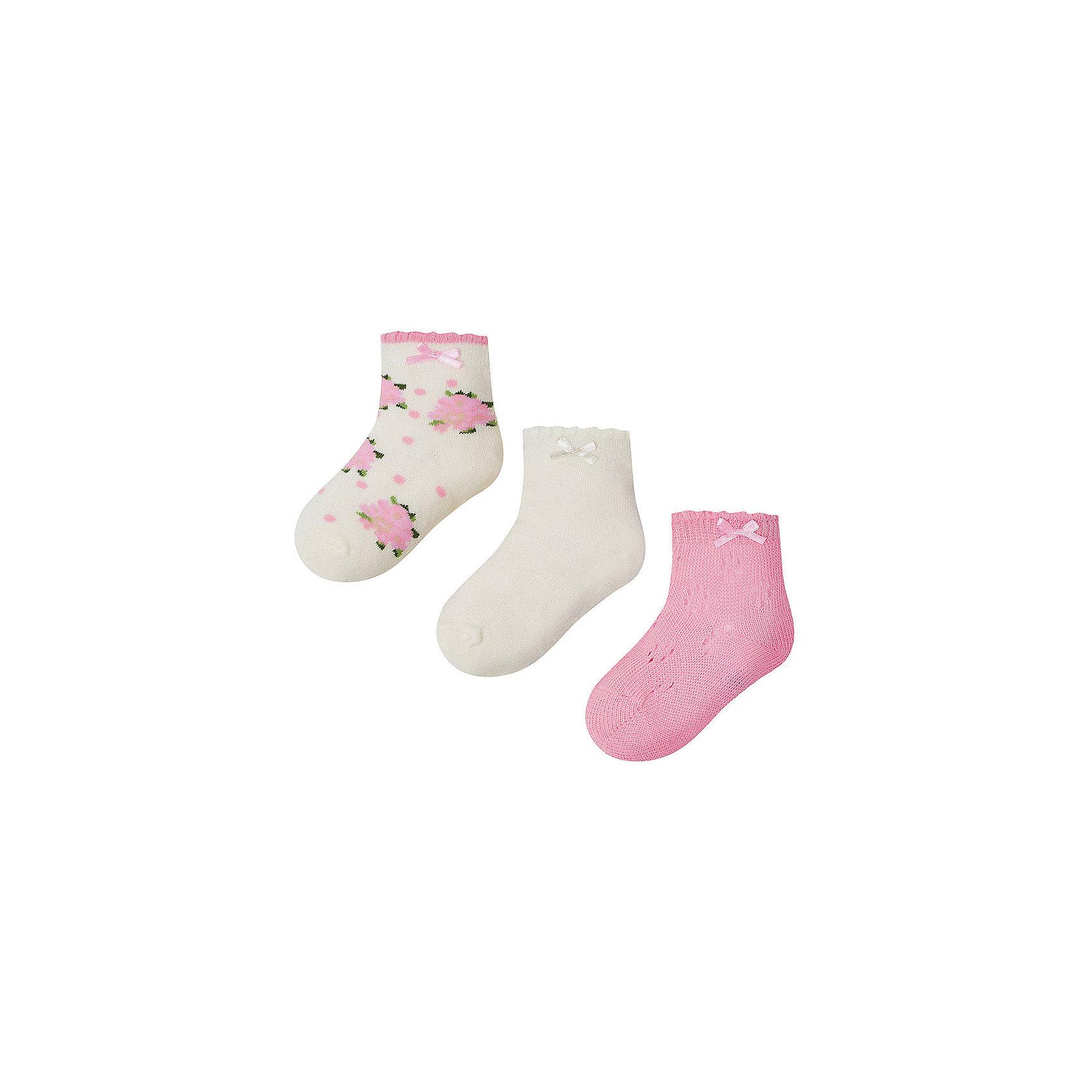 Mayoral Носки для девочки, 3 пары Mayoral носки minecraft socks 3 pack green зеленые s 3 пары 11750