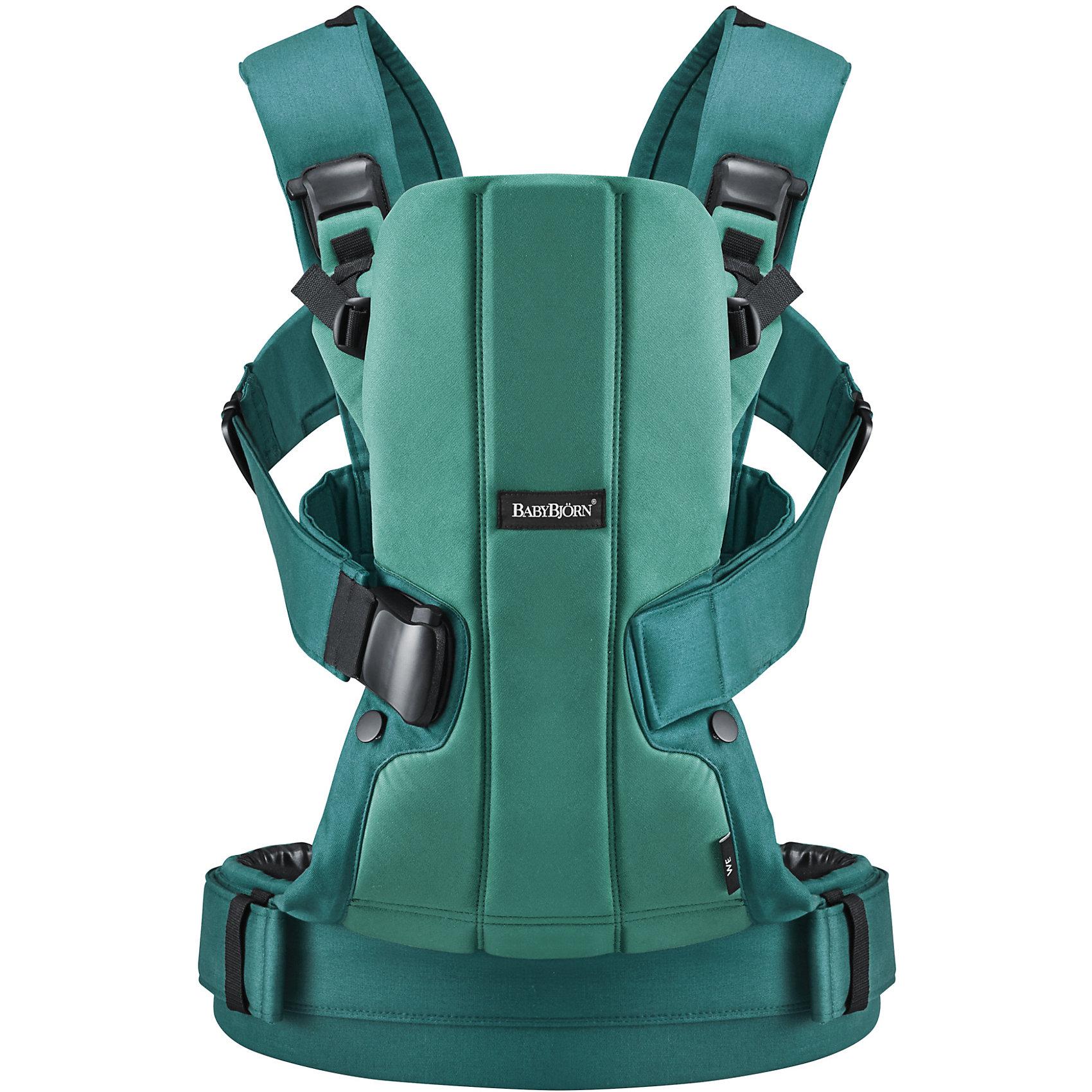 Рюкзак-переноска We, BabyBjorn, зеленыйРюкзак-переноска We, BabyBjorn, является идеальной альтернативой детской коляске в течение первых месяцев жизни ребенка. Использование рюкзака-переноски освобождает Ваши руки, а ребенку позволяет наслаждаться близостью родителя и чувствовать себя спокойным и защищенным. Модель We легка и практична, обеспечивает безопасность и комфорт малышу и удобное использование для родителей. Технологичный дизайн позволяет использовать рюкзак на протяжении нескольких лет жизни малыша, адаптируя его под меняющийся вес и рост ребенка. Предусмотрены три удобных положения для ношения ребенка: на груди лицом к родителям с двумя разными уровнями высоты или на спине взрослого. Рюкзак оснащен крепким поясным ремнем и мягкими плечевыми ремнями, позволяющими переносить растущего ребенка с максимальным комфортом. Благодаря поясному ремню вес ребенка передается на Ваши бедра, уменьшая нагрузку на спину и плечи. Съёмная передняя часть рюкзака-переноски снимается, что позволяет легко и быстро вынуть из него ребёнка.<br><br>Анатомическая конструкция с жесткой спинкой способствует правильной осанке и обеспечивает поддержку для головы, спины и ног ребёнка. Находясь в рюкзаке-кенгуру We, ребенок может свободно двигать руками и ногами, что стимулирует развитие мышц, моторики и равновесия. Сиденье для малыша оснащено подкладкой, а мягкая внутренняя поверхность рюкзака защищает чувствительную детскую кожу. Рюкзак выполнен из высококачественных материалов, соответствующих требованиям стандарта Oeko-Tex 100, класс 1 изделий для грудных детей. Ручная стирка при температуре 40 градусов. Подходит для детей возрастом от 0 месяцев до 3 лет, вес - от 3,5 до 15 кг., рост - от 53 до 100 см.<br><br>Дополнительная информация:<br><br>- Цвет: изумрудный.<br>- Материал:  60% хлопок, 40% полиэстер, подкладка - 100% хлопок.<br>- Возраст: 0 мес. - 3 года (3,5 - 15 кг.).<br>- Размер упаковки: 33,5 х 32,5 х 11 см.<br>- Вес: 1,302 кг.<br><br>Рюкзак-переноску We, BabyBjorn, изумрудны