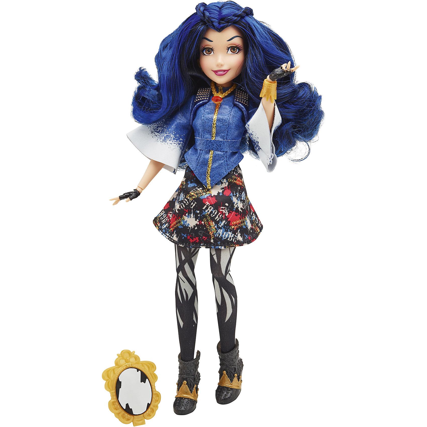 Темные герои в оригинальных костюмах Иви, Наследники, DisneyИгрушки<br>Встречайте кукол,  детей злодеев,  в их традиционных нарядах. Куклы  с различными точками артикуляции могут принимать самые реалистичные позы. Детально проработанные текстильные наряды выглядят убийственно прекрасно! Иви, дочь злой Королевы, - настоящая красотка! Ее густые синие волосы приятно расчесывать, создавая самые невероятные прически. С каждой куклой в наборе идут  аксессуар, медальон и стикеры. <br><br>Дополнительная информация:<br><br>- Материал: пластик, текстиль.<br>- Высота куклы: 27,5 см.<br>- Комплектация: кукла в одежде и обуви, аксессуар, медальон, стикеры. <br><br>Темные герои в оригинальных костюмах, Наследники, Disney (Descendants, Дисней) , можно купить в нашем магазине.<br><br>Ширина мм: 68<br>Глубина мм: 205<br>Высота мм: 337<br>Вес г: 278<br>Возраст от месяцев: 72<br>Возраст до месяцев: 144<br>Пол: Женский<br>Возраст: Детский<br>SKU: 4563926