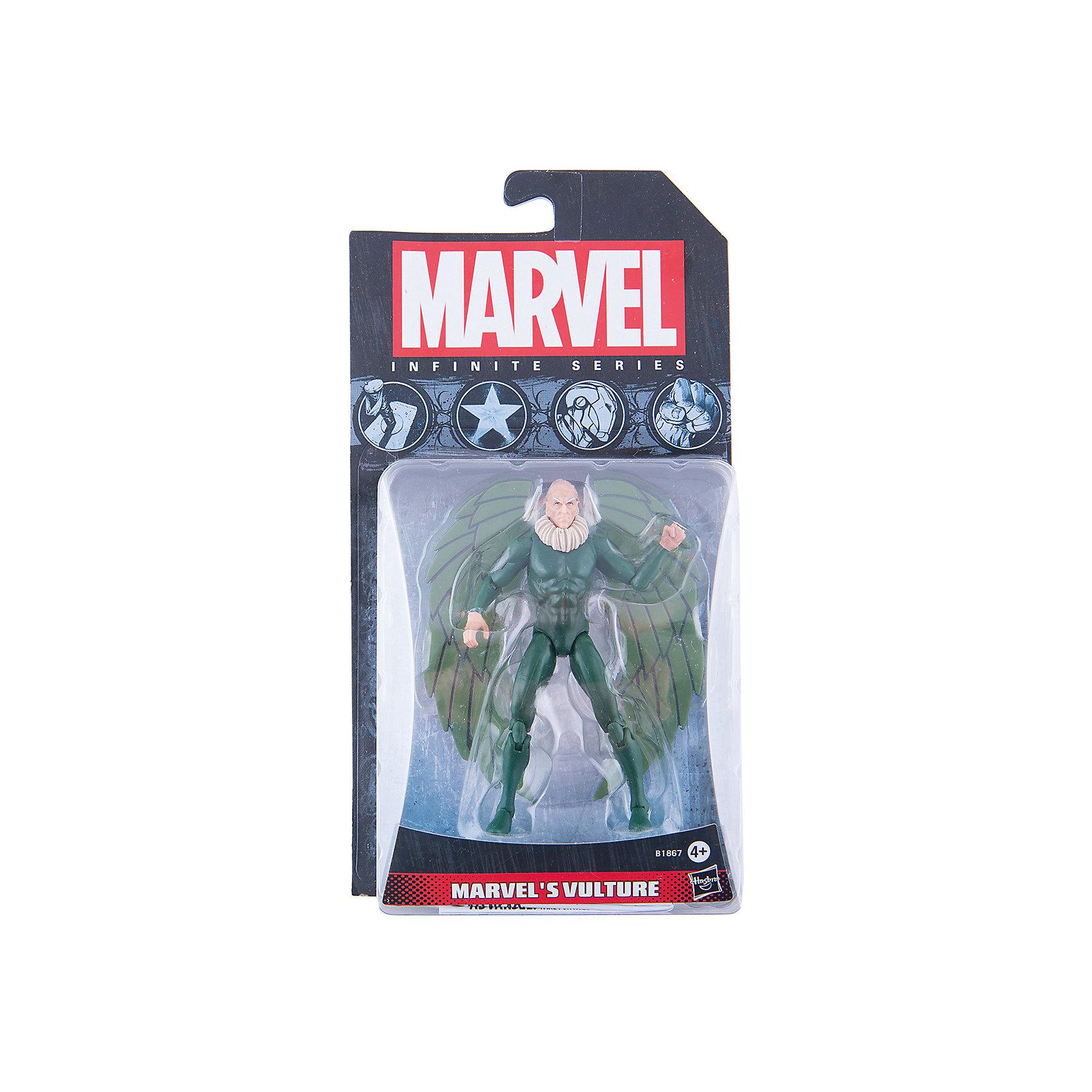 Коллекционная фигурка Марвел 9,5 см, Marvel Heroes, B1867/A6749Игрушки<br>Фигурка Вультура, давнего врага Человека-Паука, обязательно понравится всем поклонникам Marvel. Фигурка прекрасно детализирована, обладает подвижными конечностями и щупальцами, что позволяет ей принимать разнообразные позы, открывая еще большие возможности для различных игровых сюжетов. Игрушка изготовлена из высококачественного пластика, с применением безопасных, экологичных красителей. <br><br>Дополнительная информация:<br><br>- Материал: пластик.<br>- Размер фигурки: 9,5 см.<br>- Подвижные конечности.<br><br>Коллекционную фигурку Марвел 9,5 см, Marvel Heroes, можно купить в нашем магазине.<br><br>Ширина мм: 51<br>Глубина мм: 121<br>Высота мм: 229<br>Вес г: 150<br>Возраст от месяцев: 48<br>Возраст до месяцев: 192<br>Пол: Мужской<br>Возраст: Детский<br>SKU: 4563957