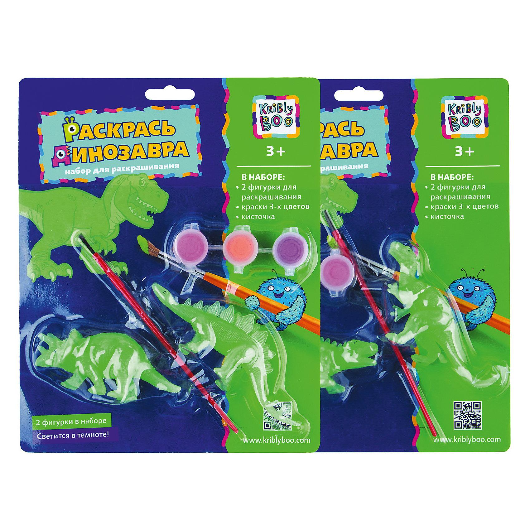 Набор Раскрась динозавра, светящийся в темноте, в ассортиментеДраконы и динозавры<br>Характеристики товара:<br><br>• материал: пластик, акрил<br>• размер: 20х24х4 см<br>• вес: 100 г<br>• комплектация: 3 динозавра, краски 3 цвета, кисть<br>• фигурки светятся в темноте<br>• развивающая<br>• возраст: от трех лет<br>• страна бренда: Финляндия<br>• страна изготовитель: Китай<br><br>Такая раскраска станет отличным подарком малышам! Она отличается тем, что сделана в виде объемных динозавров! Ддля раскрашивания к ней прилагаются кисть и краски. С помощью раскрашивания ребенок не только весело проведет время, он будет тренировать внимательность, абстрактное мышление, логику, усидчивость, мелкую моторику и творческие способности. <br>Раскраска выпущена в удобном формате. Изделие производится из качественных и проверенных материалов, которые безопасны для детей.<br><br>Набор Раскрась динозавра, светящийся в темноте, от бренда KriBly Boo можно купить в нашем интернет-магазине.<br><br>Ширина мм: 240<br>Глубина мм: 200<br>Высота мм: 40<br>Вес г: 125<br>Возраст от месяцев: 36<br>Возраст до месяцев: 2147483647<br>Пол: Мужской<br>Возраст: Детский<br>SKU: 4563990
